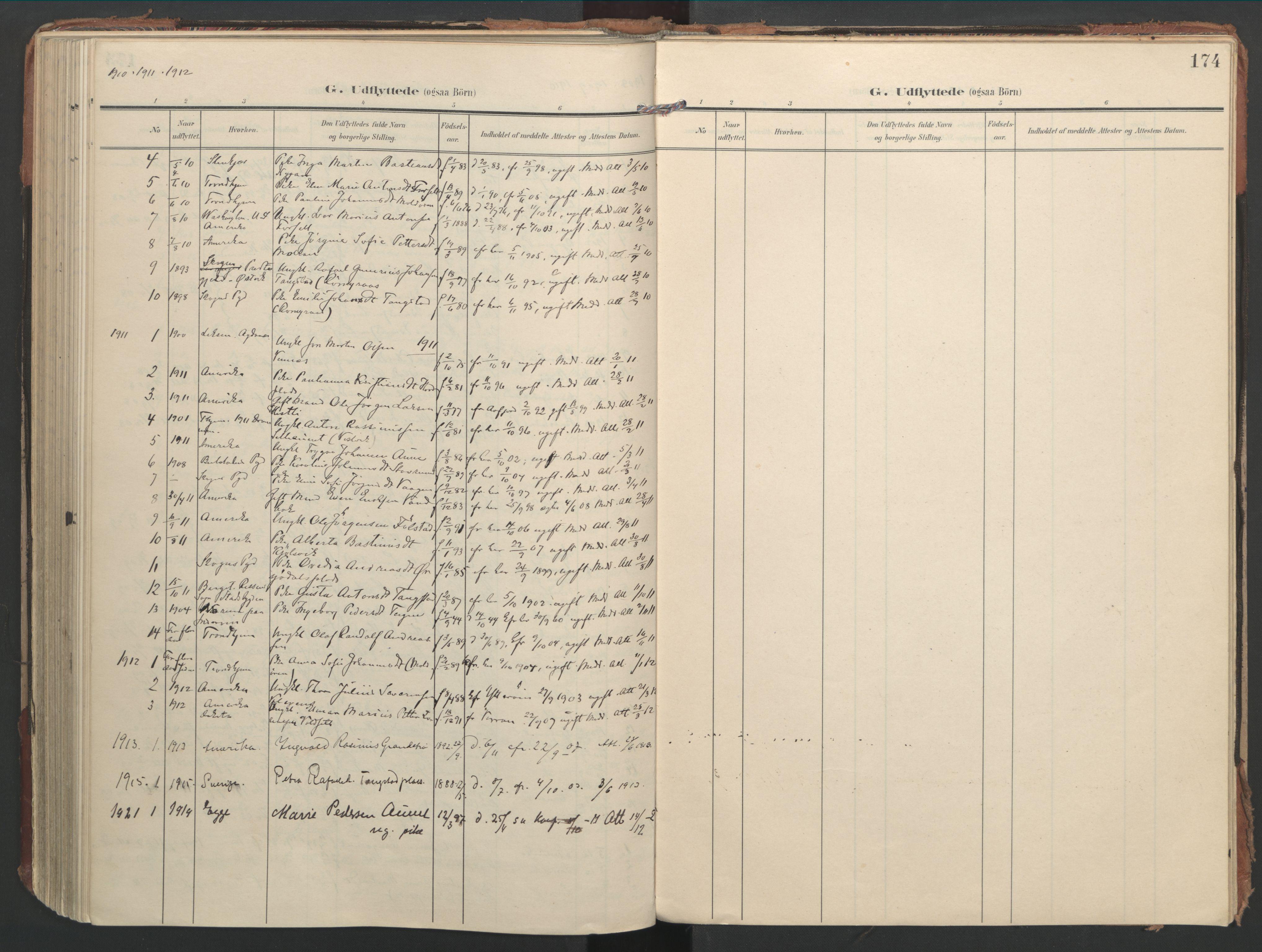 SAT, Ministerialprotokoller, klokkerbøker og fødselsregistre - Nord-Trøndelag, 744/L0421: Ministerialbok nr. 744A05, 1905-1930, s. 174
