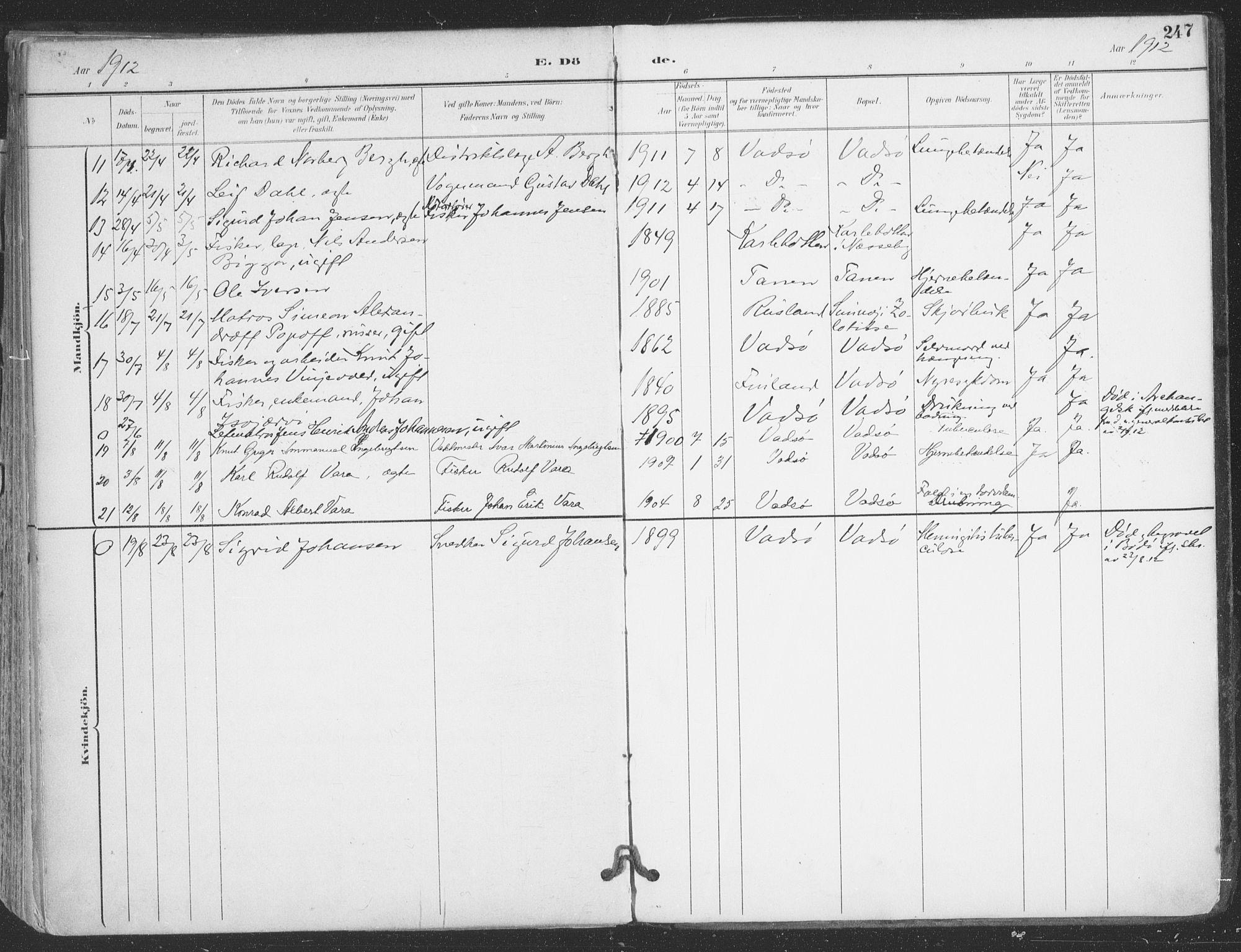 SATØ, Vadsø sokneprestkontor, H/Ha/L0007kirke: Ministerialbok nr. 7, 1896-1916, s. 247