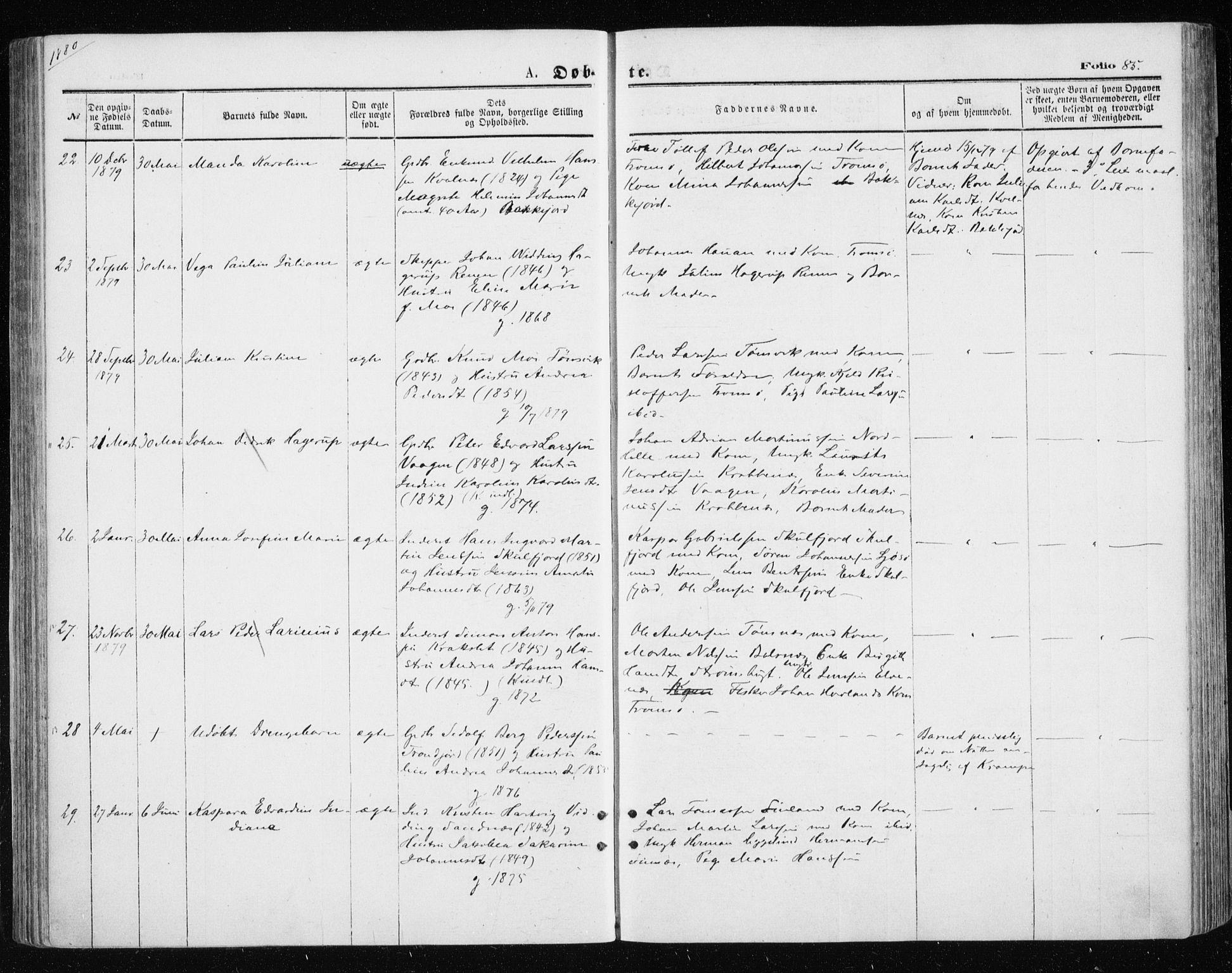 SATØ, Tromsøysund sokneprestkontor, G/Ga/L0003kirke: Ministerialbok nr. 3, 1875-1880, s. 85