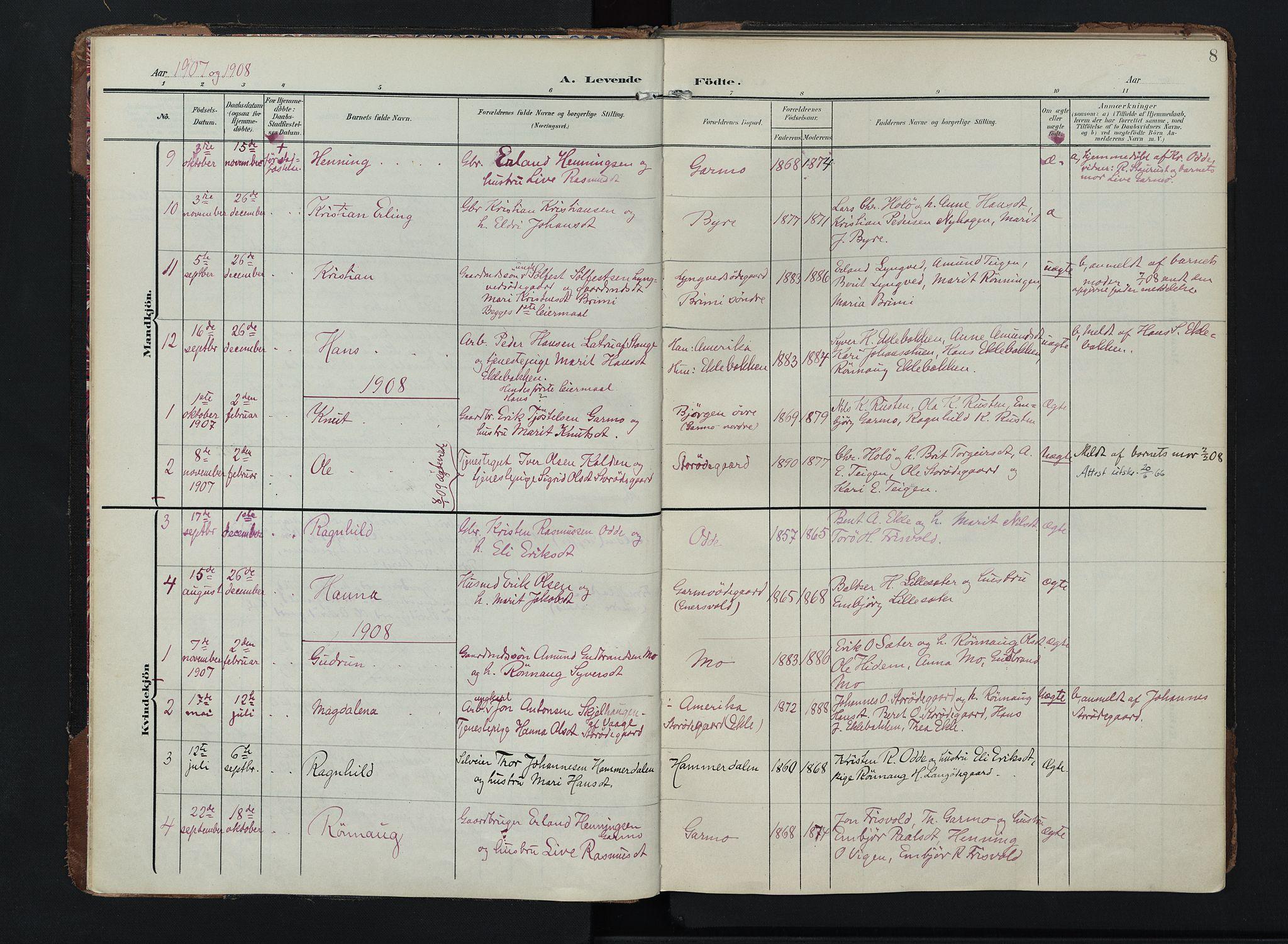 SAH, Lom prestekontor, K/L0011: Ministerialbok nr. 11, 1904-1928, s. 8