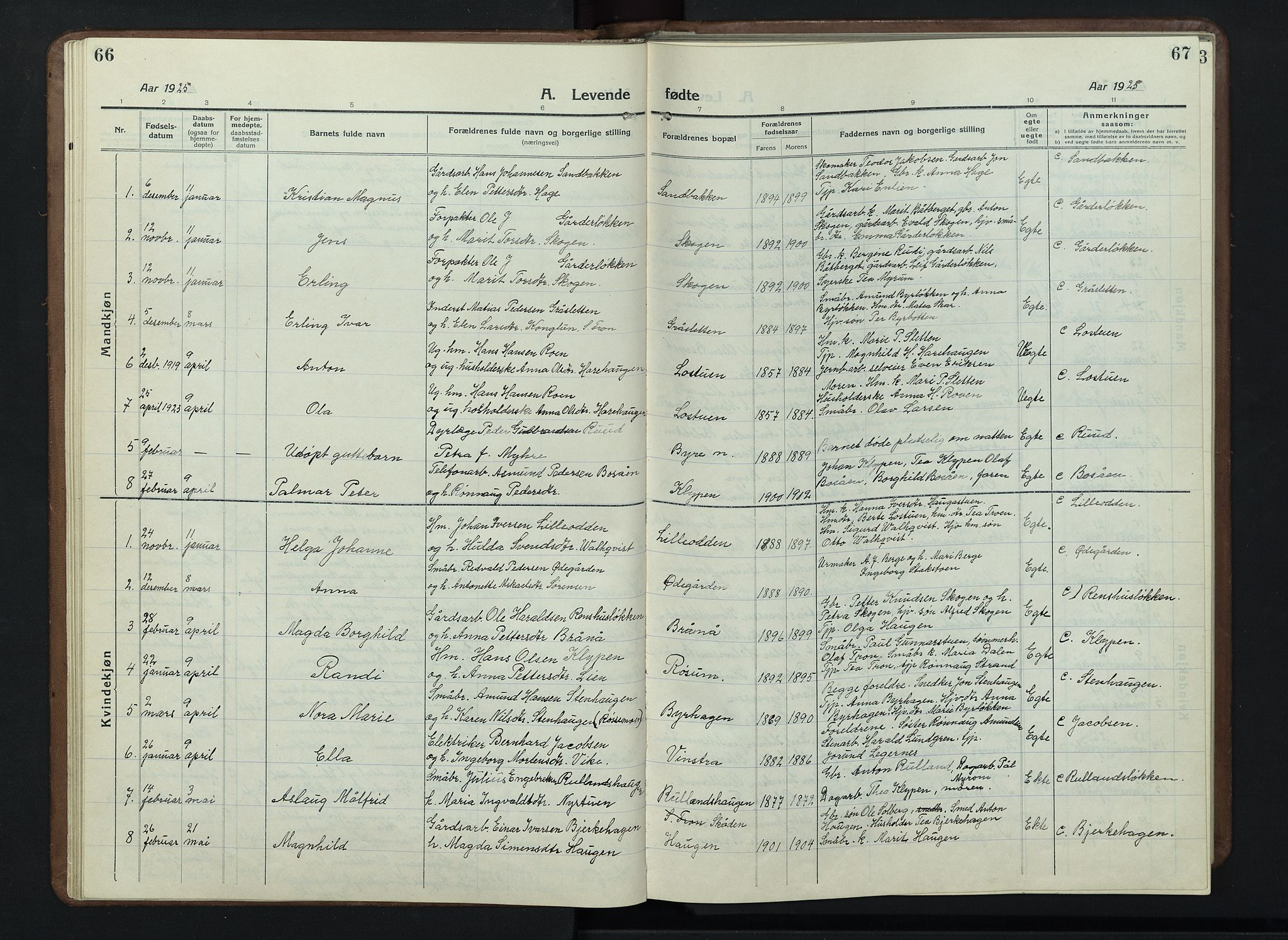 SAH, Nord-Fron prestekontor, Klokkerbok nr. 7, 1915-1946, s. 66-67