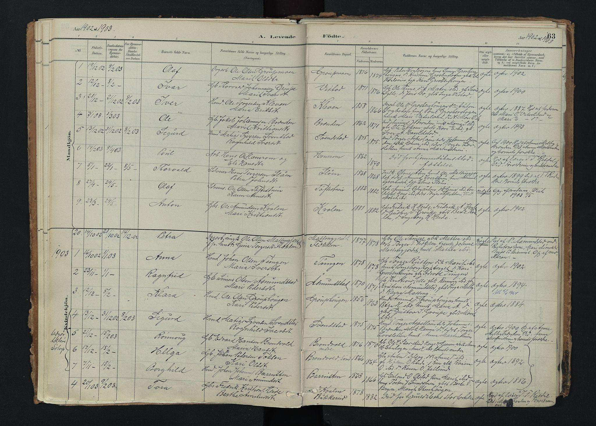 SAH, Nord-Fron prestekontor, Ministerialbok nr. 5, 1884-1914, s. 63