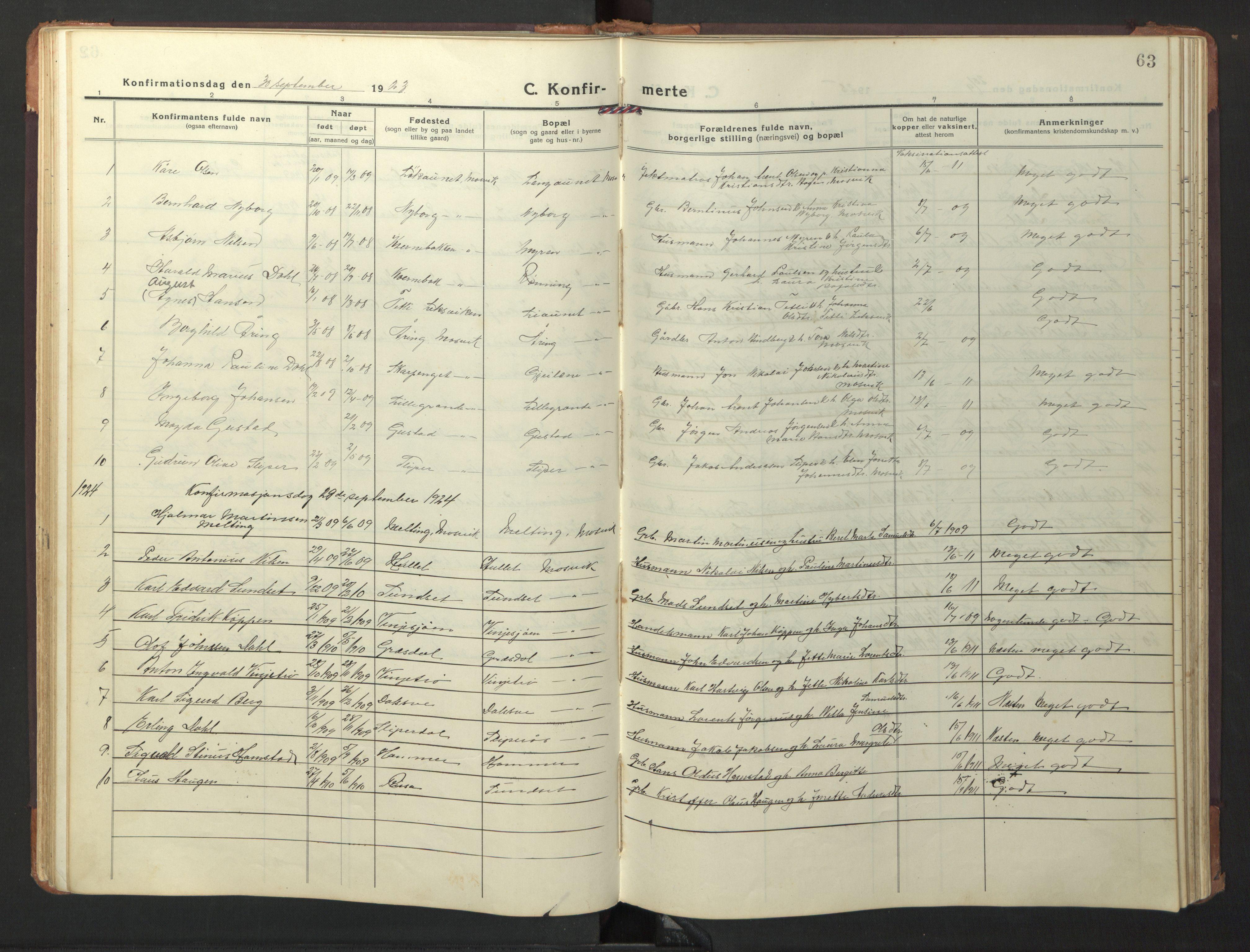 SAT, Ministerialprotokoller, klokkerbøker og fødselsregistre - Nord-Trøndelag, 733/L0328: Klokkerbok nr. 733C03, 1919-1966, s. 63