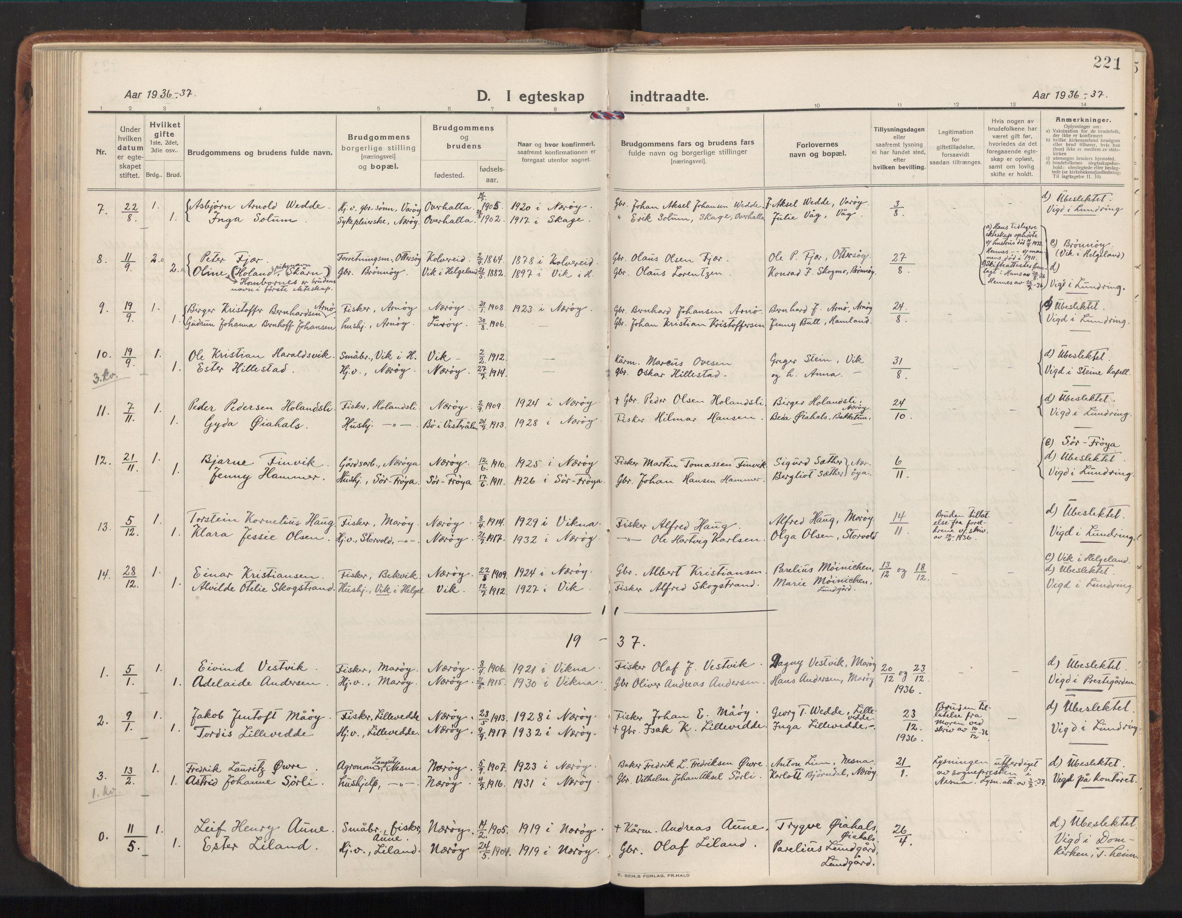 SAT, Ministerialprotokoller, klokkerbøker og fødselsregistre - Nord-Trøndelag, 784/L0678: Ministerialbok nr. 784A13, 1921-1938, s. 221