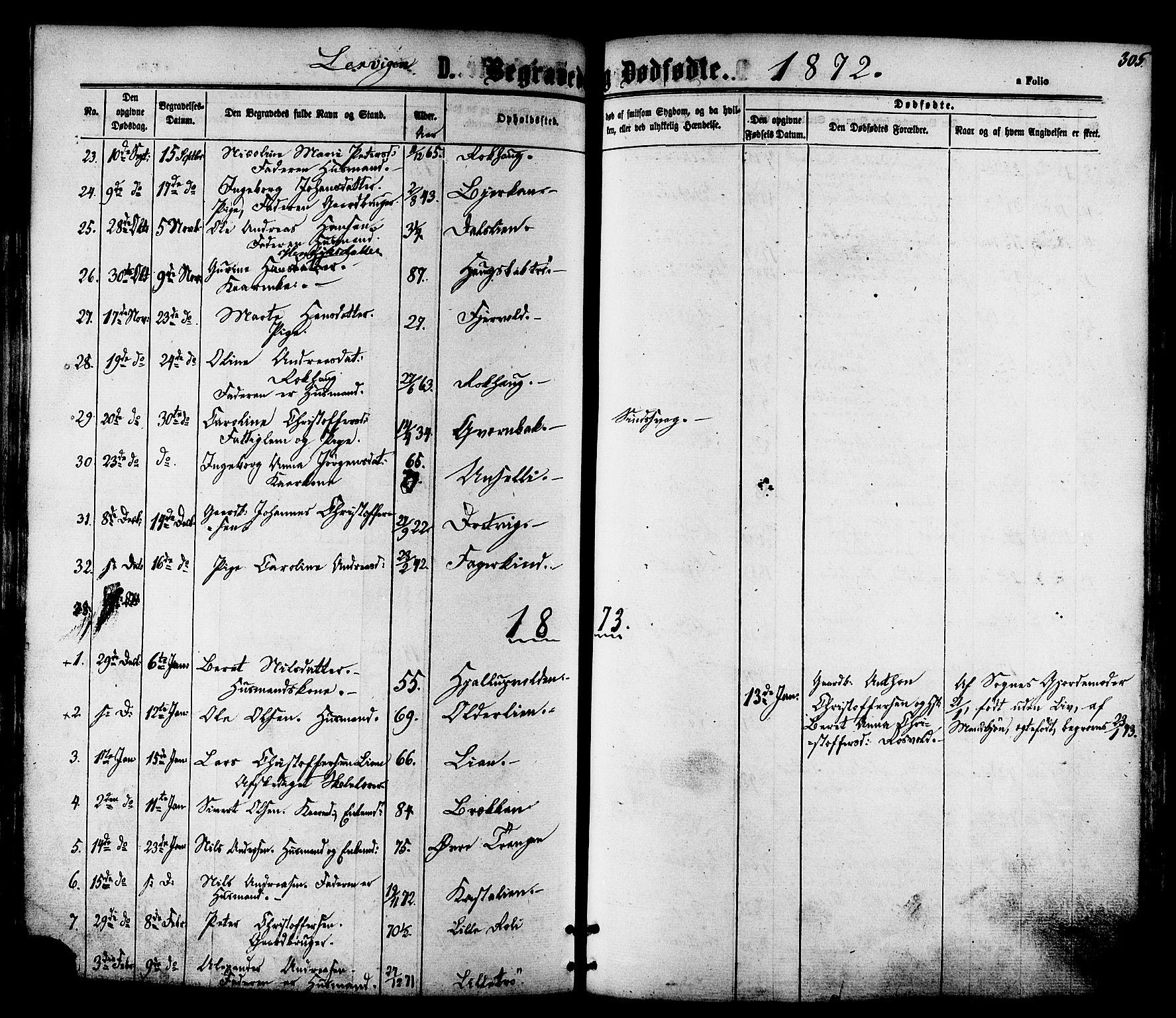 SAT, Ministerialprotokoller, klokkerbøker og fødselsregistre - Nord-Trøndelag, 701/L0009: Ministerialbok nr. 701A09 /1, 1864-1882, s. 305
