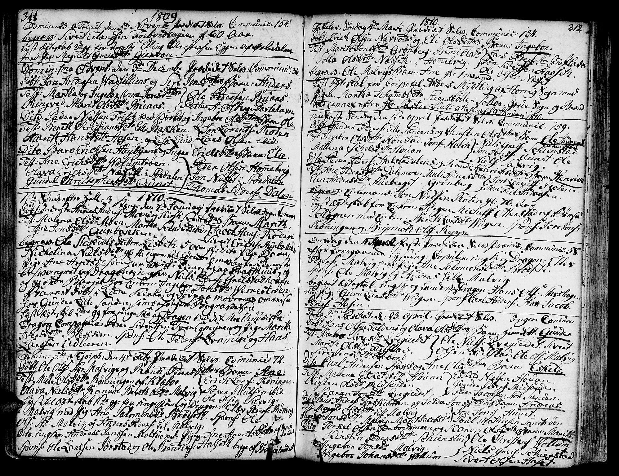 SAT, Ministerialprotokoller, klokkerbøker og fødselsregistre - Sør-Trøndelag, 606/L0281: Ministerialbok nr. 606A02 /2, 1781-1817, s. 311-312