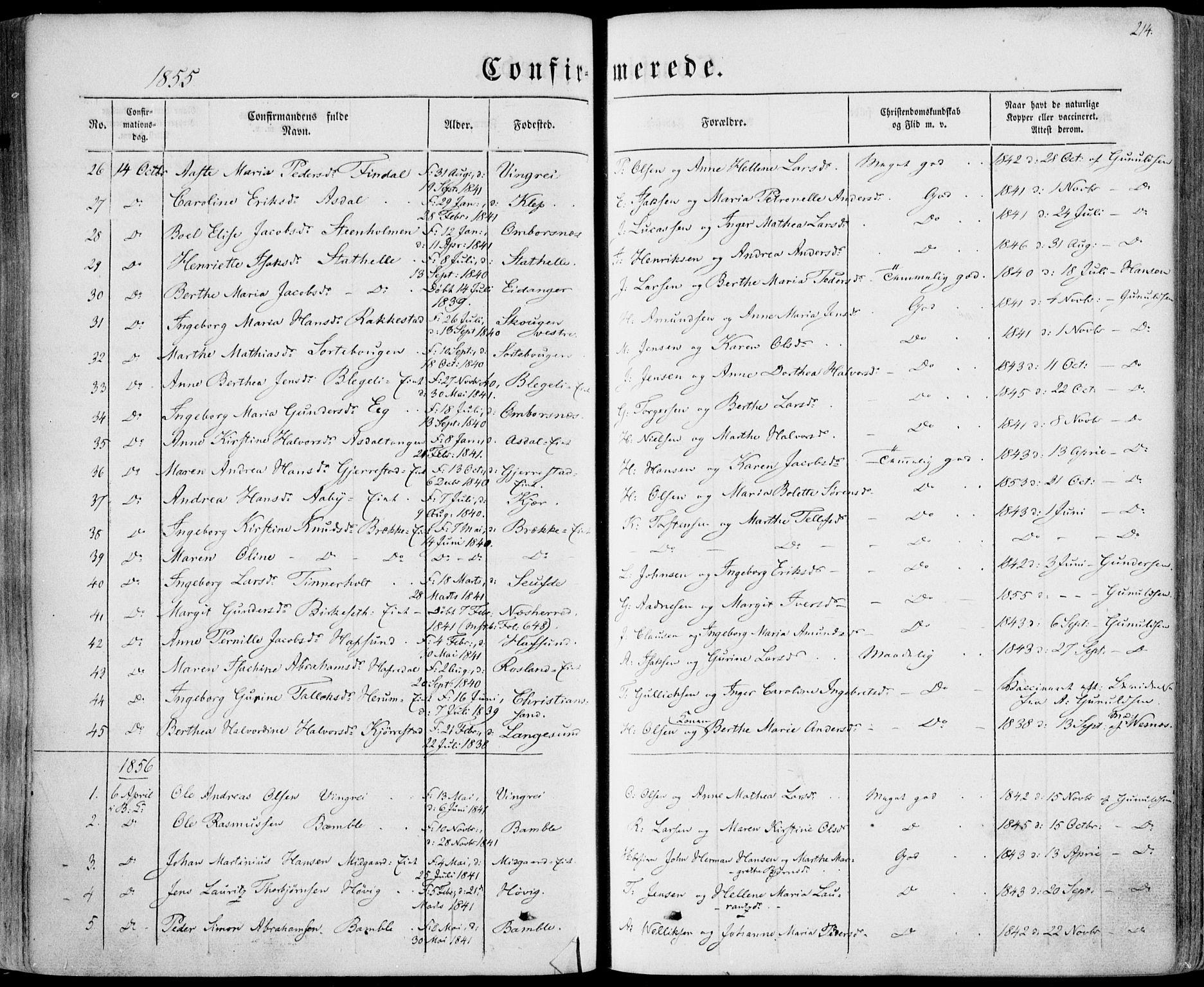 SAKO, Bamble kirkebøker, F/Fa/L0005: Ministerialbok nr. I 5, 1854-1869, s. 214