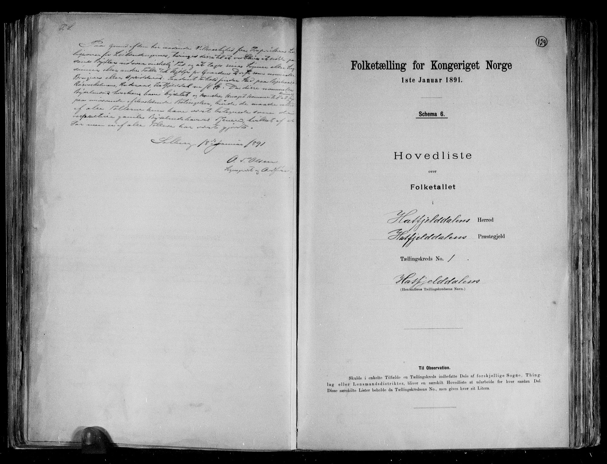 RA, Folketelling 1891 for 1826 Hattfjelldal herred, 1891, s. 4