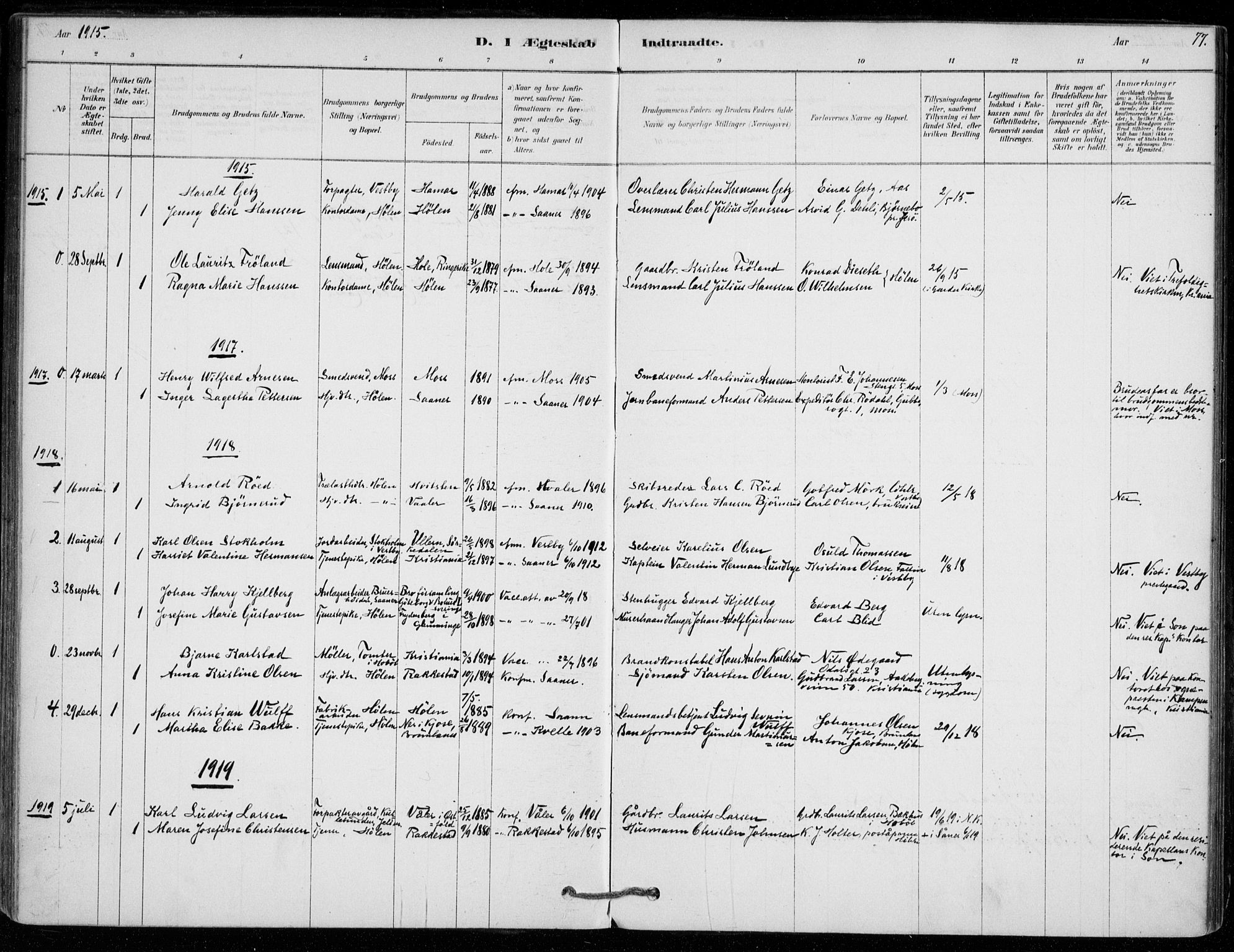 SAO, Vestby prestekontor Kirkebøker, F/Fe/L0001: Ministerialbok nr. V 1, 1878-1931, s. 77