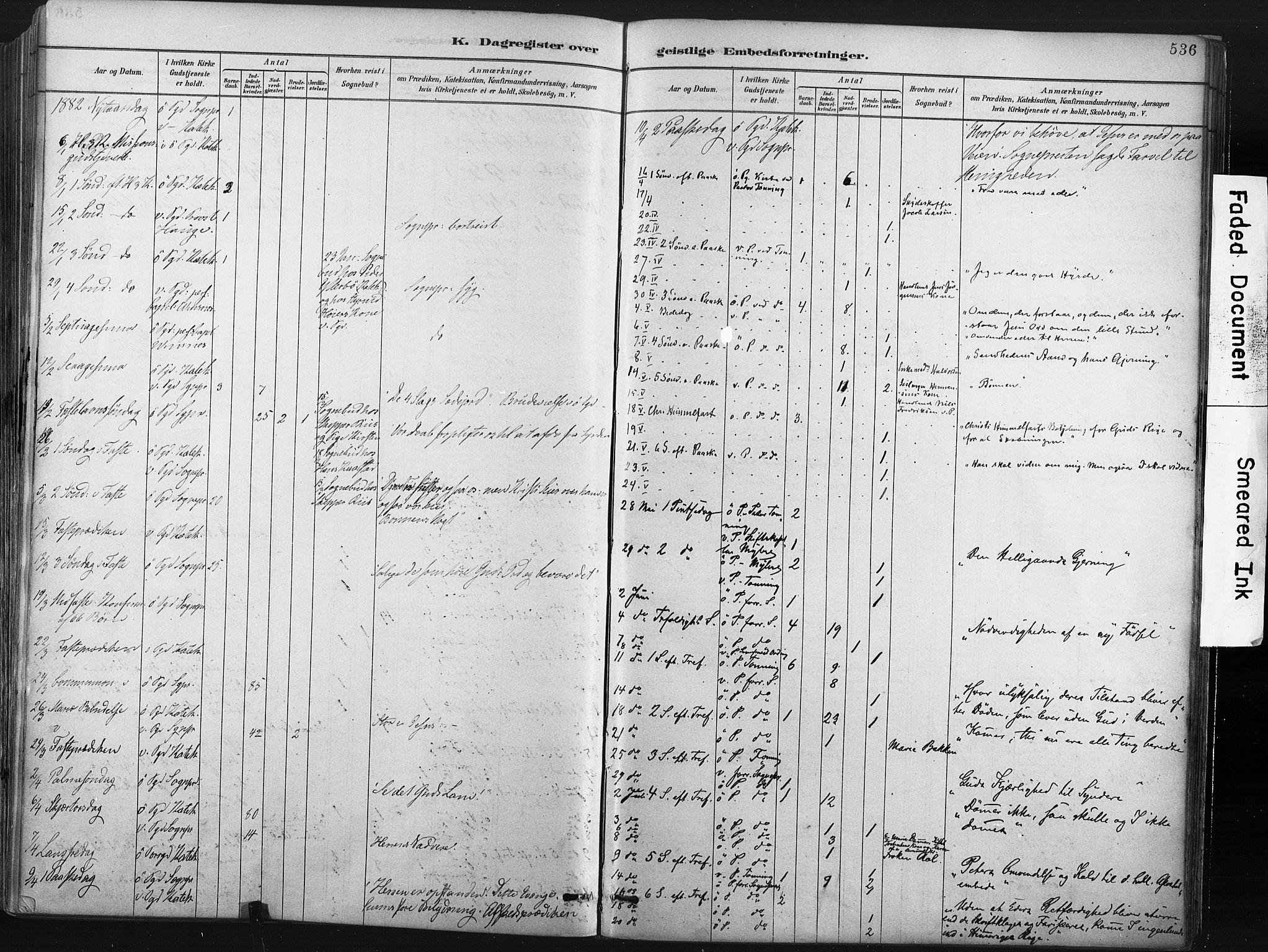 SAKO, Porsgrunn kirkebøker , F/Fa/L0008: Ministerialbok nr. 8, 1878-1895, s. 536