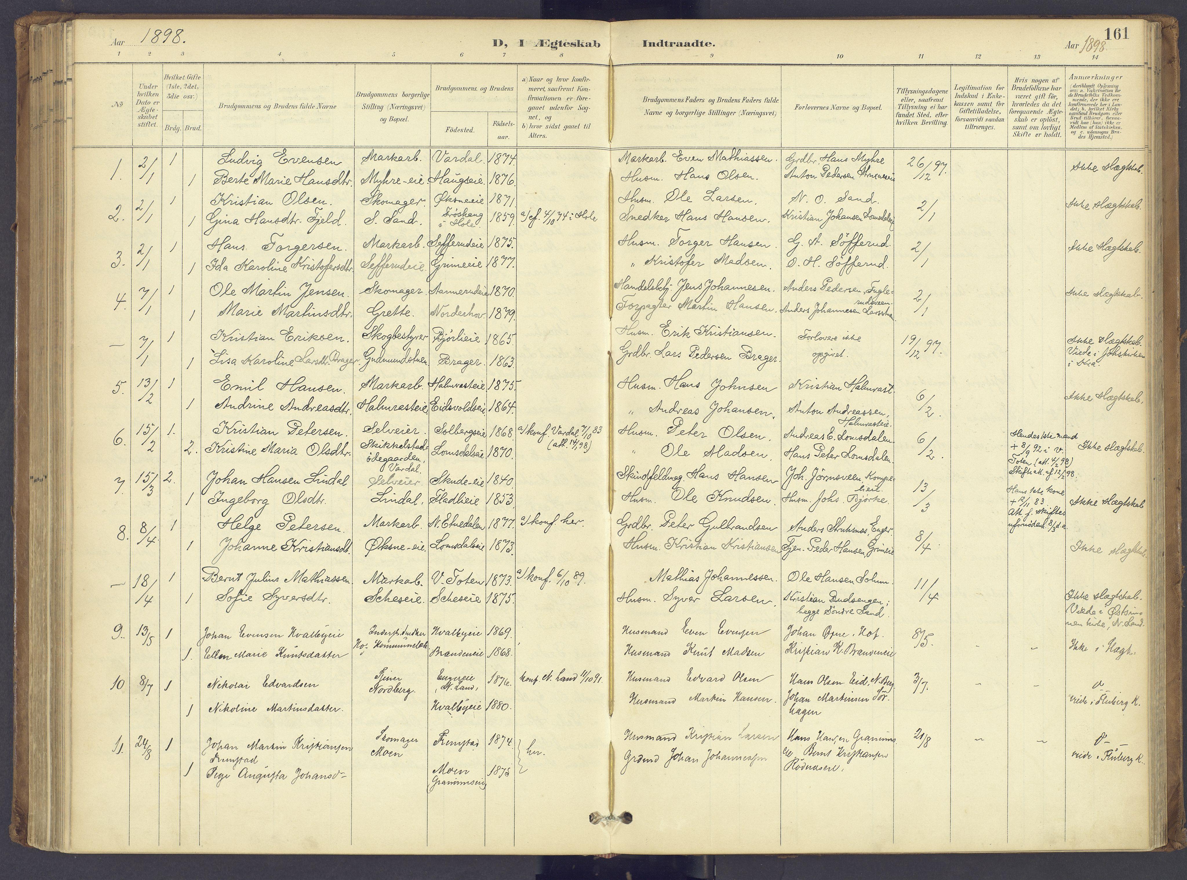 SAH, Søndre Land prestekontor, K/L0006: Ministerialbok nr. 6, 1895-1904, s. 161