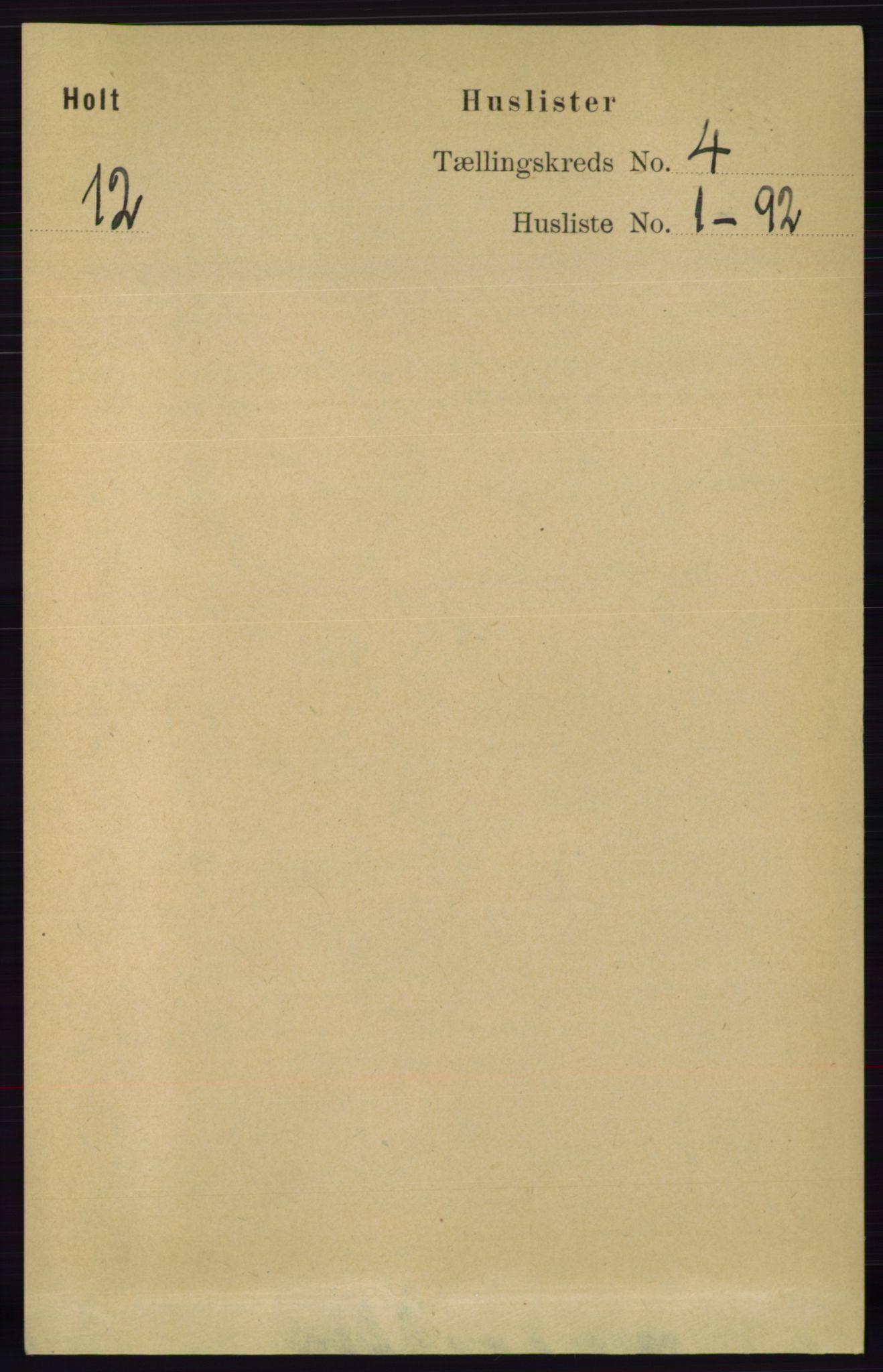 RA, Folketelling 1891 for 0914 Holt herred, 1891, s. 1543