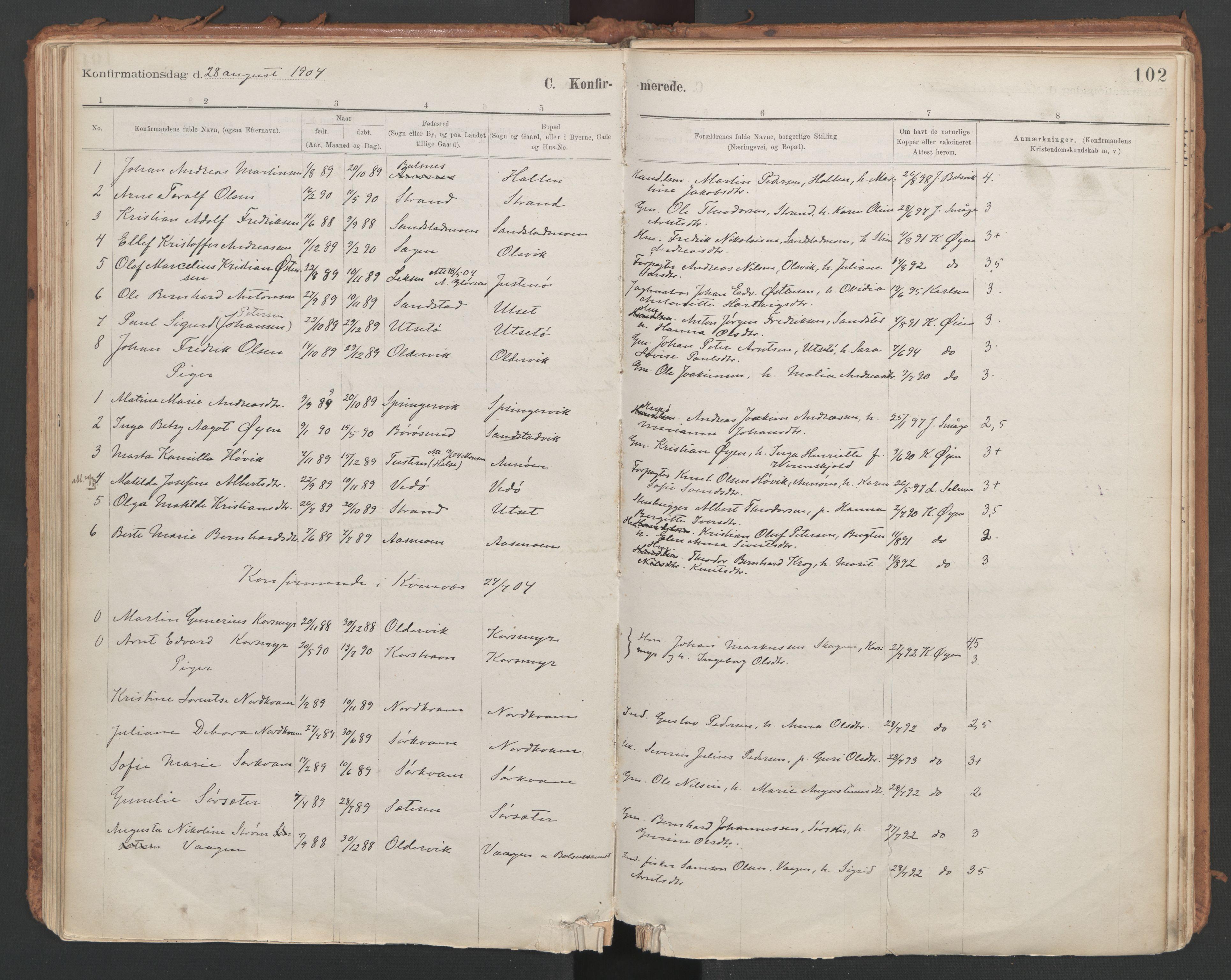 SAT, Ministerialprotokoller, klokkerbøker og fødselsregistre - Sør-Trøndelag, 639/L0572: Ministerialbok nr. 639A01, 1890-1920, s. 102