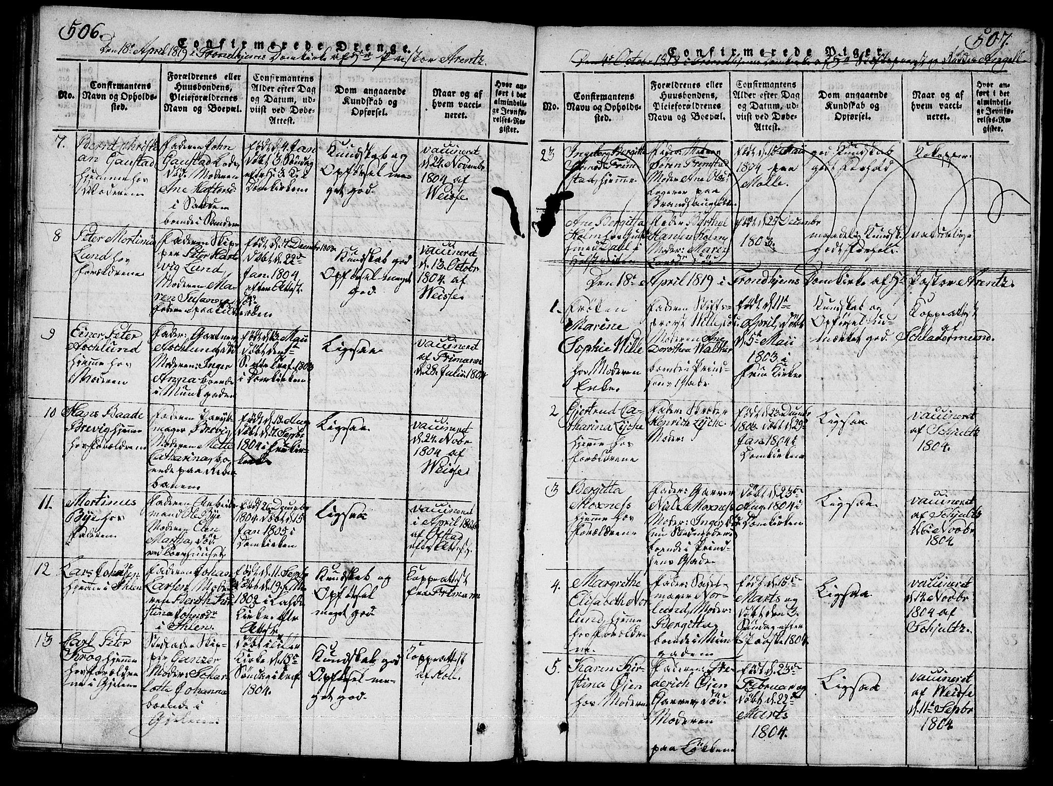 SAT, Ministerialprotokoller, klokkerbøker og fødselsregistre - Sør-Trøndelag, 601/L0043: Ministerialbok nr. 601A11, 1815-1821, s. 506-507