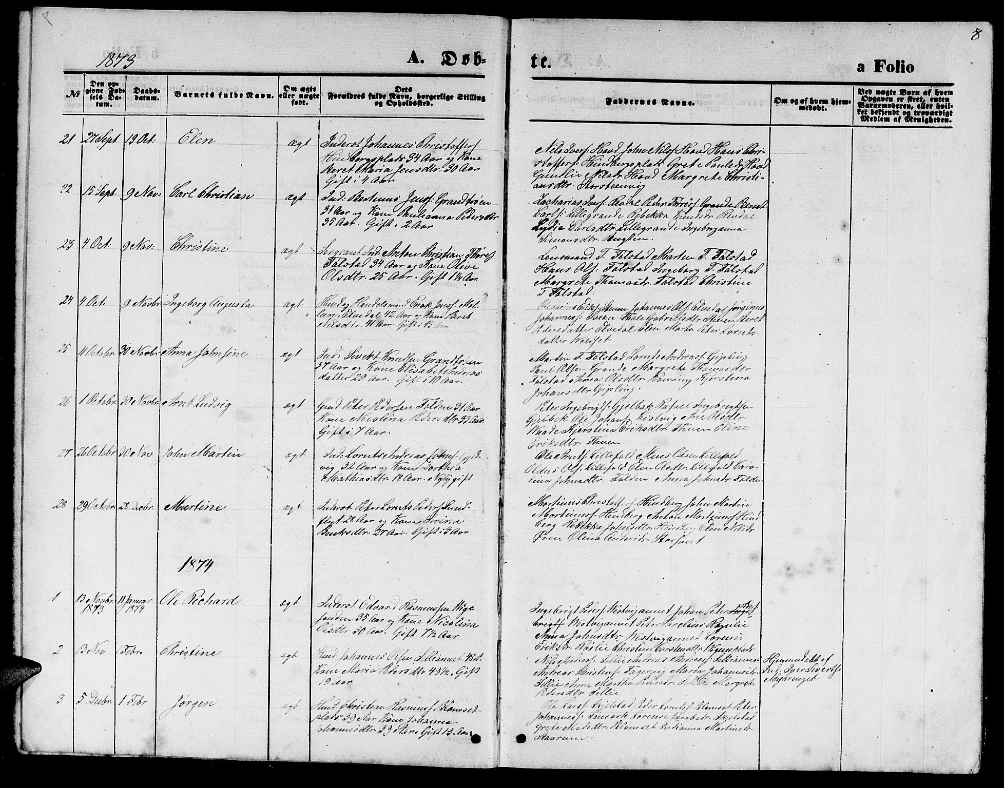 SAT, Ministerialprotokoller, klokkerbøker og fødselsregistre - Nord-Trøndelag, 744/L0422: Klokkerbok nr. 744C01, 1871-1885, s. 8
