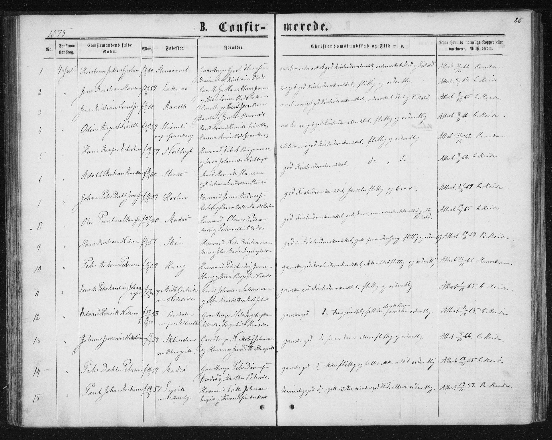 SAT, Ministerialprotokoller, klokkerbøker og fødselsregistre - Nord-Trøndelag, 788/L0696: Ministerialbok nr. 788A03, 1863-1877, s. 86