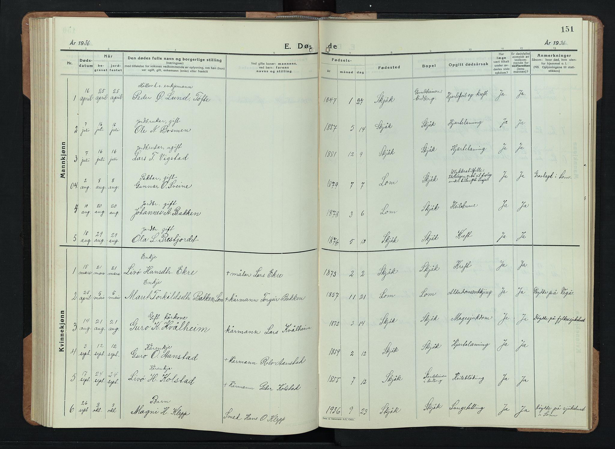 SAH, Skjåk prestekontor, Klokkerbok nr. 6, 1933-1954, s. 151