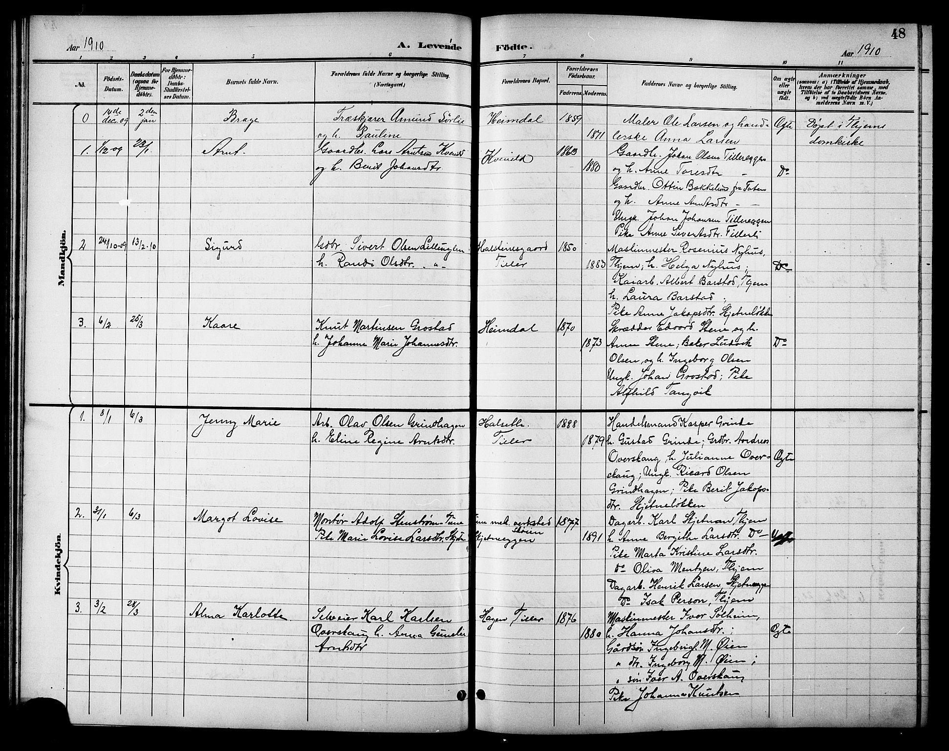 SAT, Ministerialprotokoller, klokkerbøker og fødselsregistre - Sør-Trøndelag, 621/L0460: Klokkerbok nr. 621C03, 1896-1914, s. 48