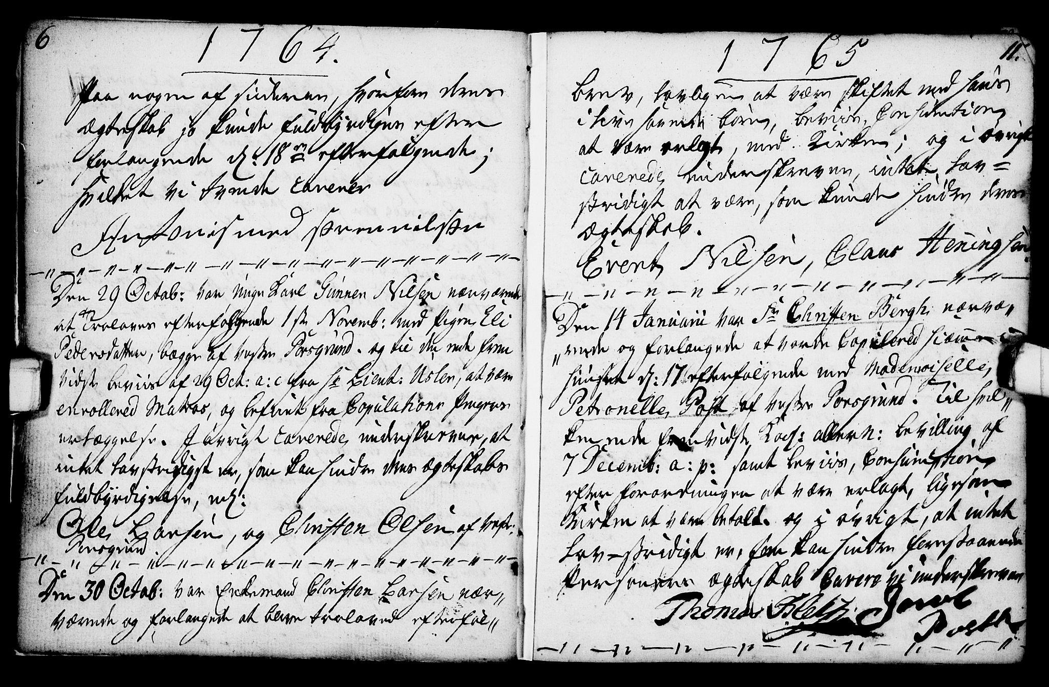 SAKO, Porsgrunn kirkebøker , F/Fa/L0003: Ministerialbok nr. 3, 1764-1814, s. 6-11
