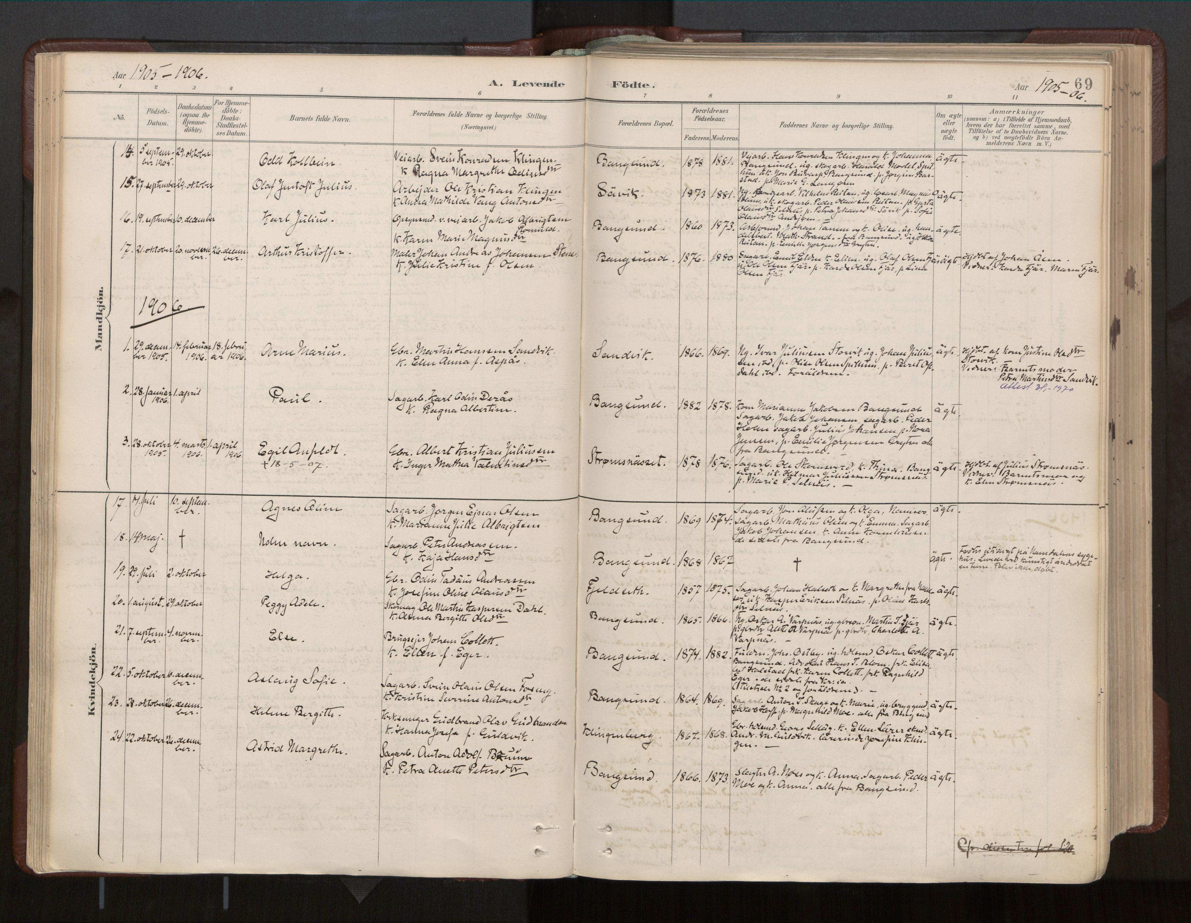 SAT, Ministerialprotokoller, klokkerbøker og fødselsregistre - Nord-Trøndelag, 770/L0589: Ministerialbok nr. 770A03, 1887-1929, s. 69