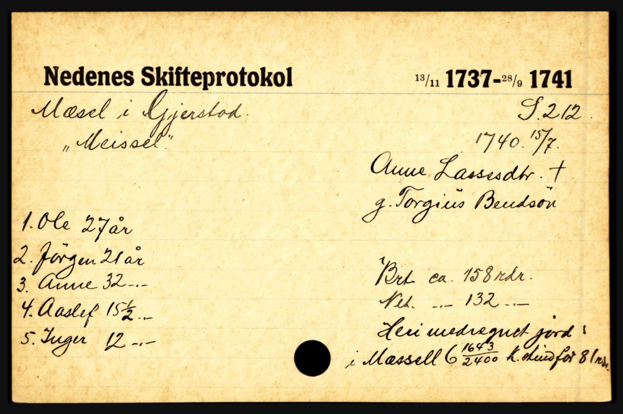 SAK, Nedenes sorenskriveri før 1824, H, s. 20635
