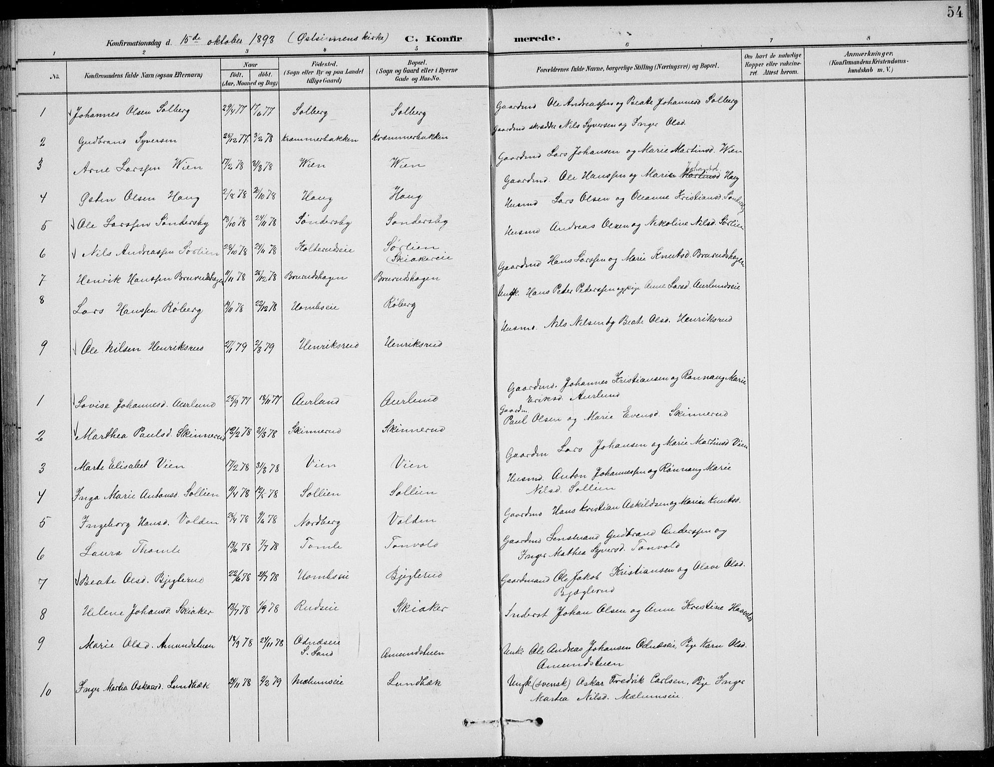 SAH, Nordre Land prestekontor, Klokkerbok nr. 14, 1891-1907, s. 54