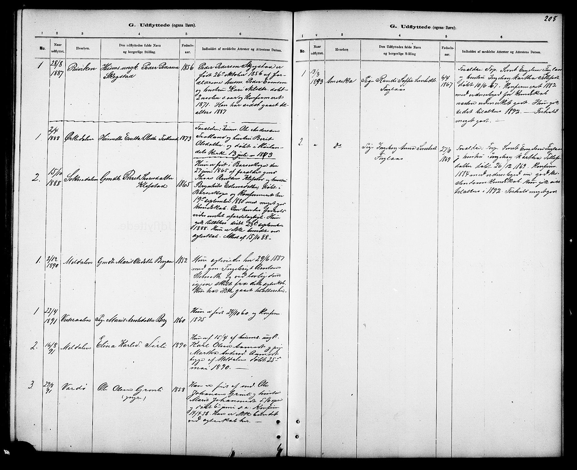 SAT, Ministerialprotokoller, klokkerbøker og fødselsregistre - Sør-Trøndelag, 694/L1132: Klokkerbok nr. 694C04, 1887-1914, s. 208