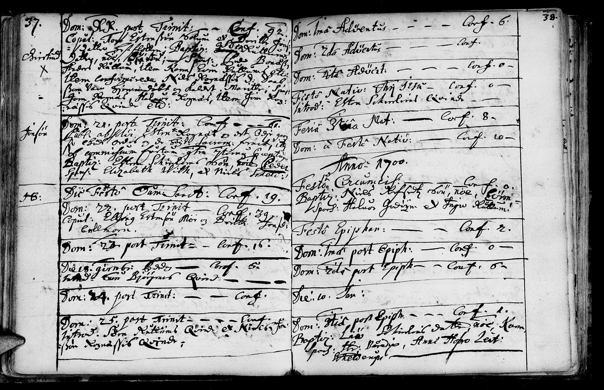 SAT, Ministerialprotokoller, klokkerbøker og fødselsregistre - Sør-Trøndelag, 687/L0990: Ministerialbok nr. 687A01, 1690-1746, s. 37-38