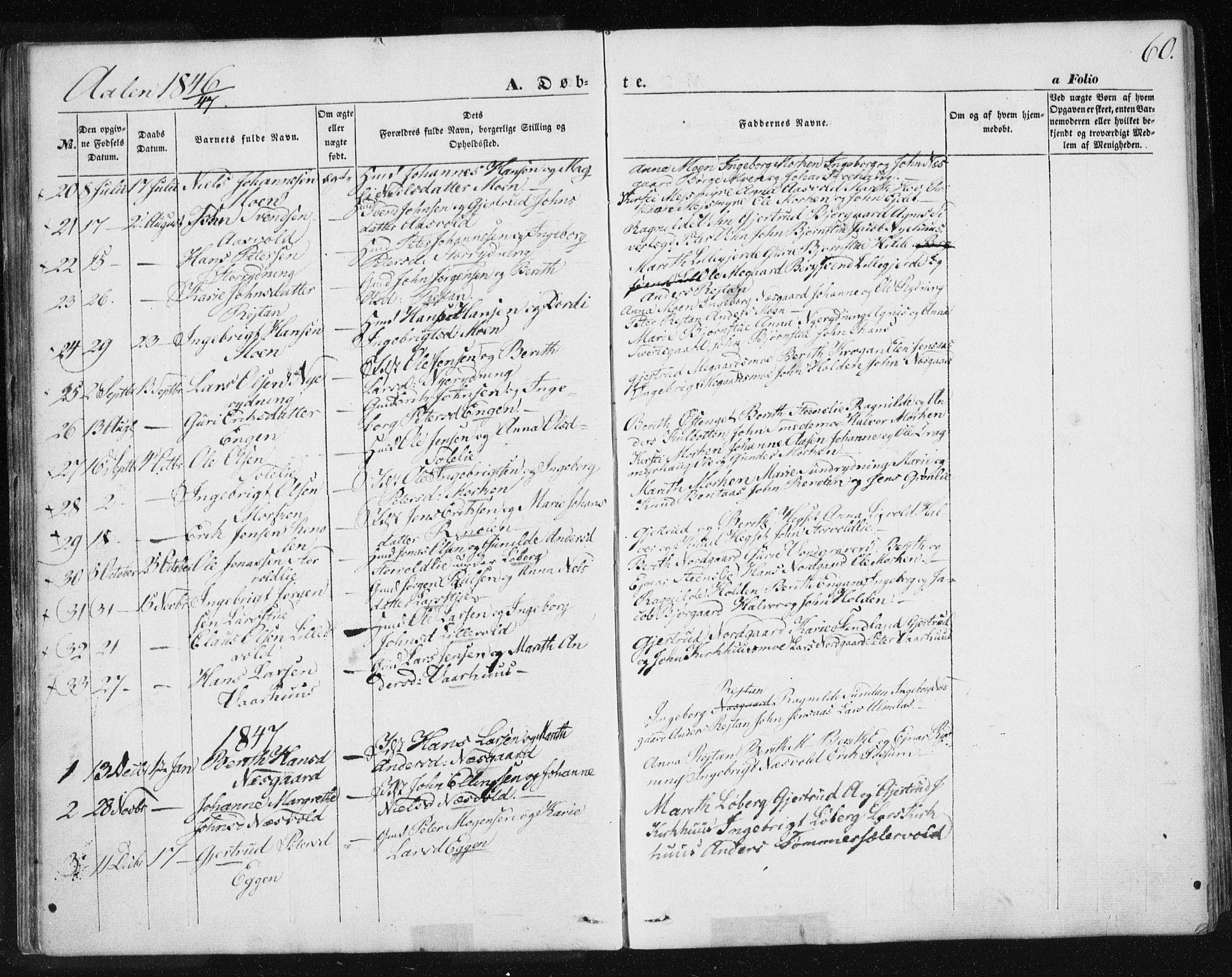 SAT, Ministerialprotokoller, klokkerbøker og fødselsregistre - Sør-Trøndelag, 685/L0965: Ministerialbok nr. 685A06 /3, 1846-1859, s. 60