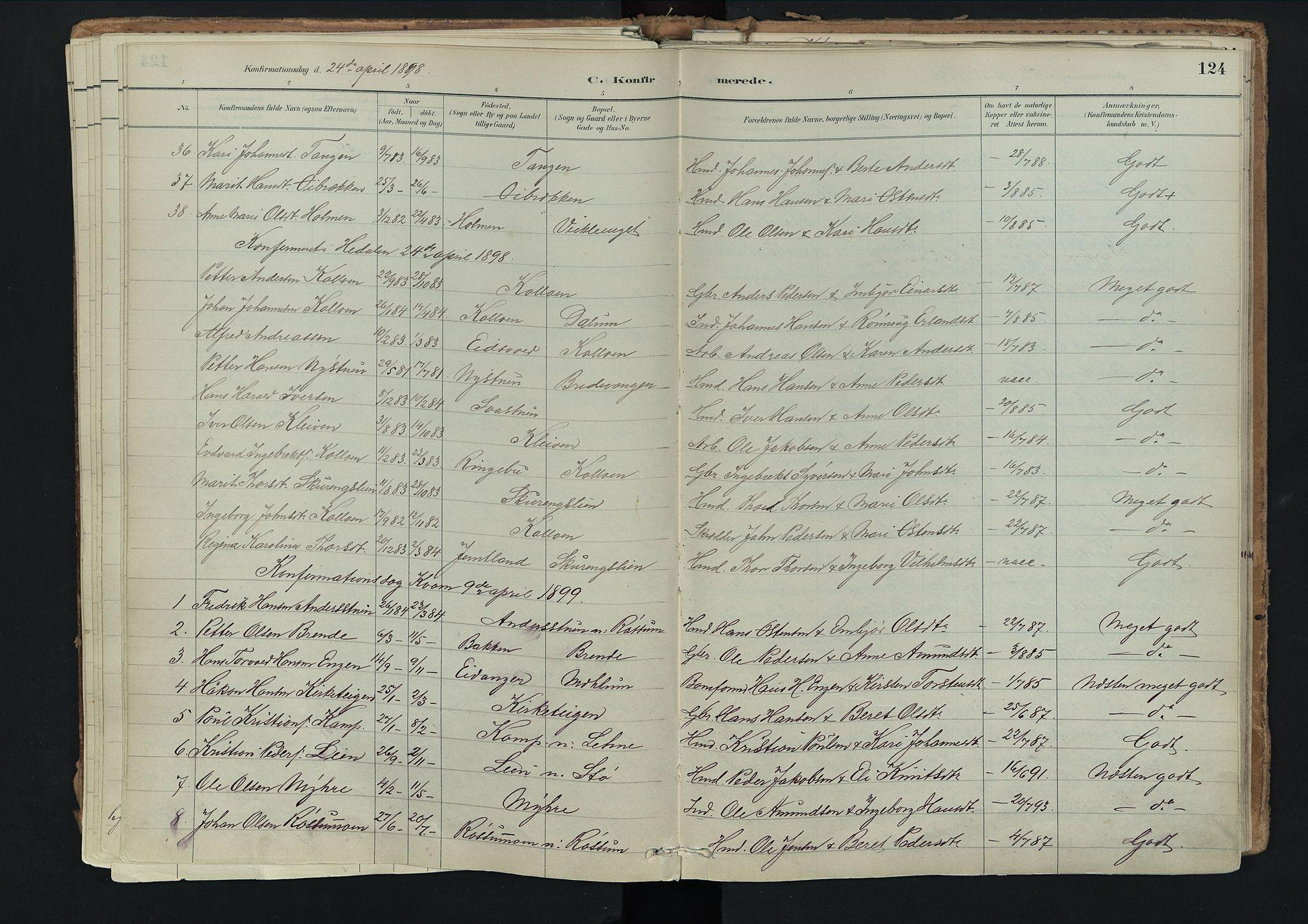 SAH, Nord-Fron prestekontor, Ministerialbok nr. 3, 1884-1914, s. 124