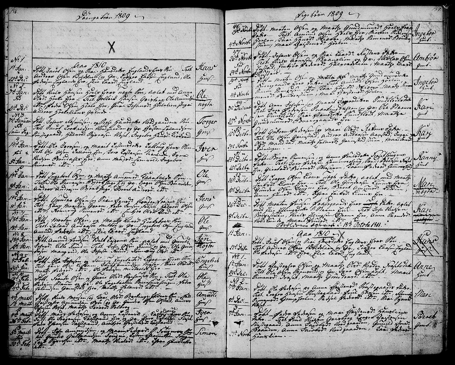 SAH, Gausdal prestekontor, Ministerialbok nr. 4, 1809-1817, s. 156-157