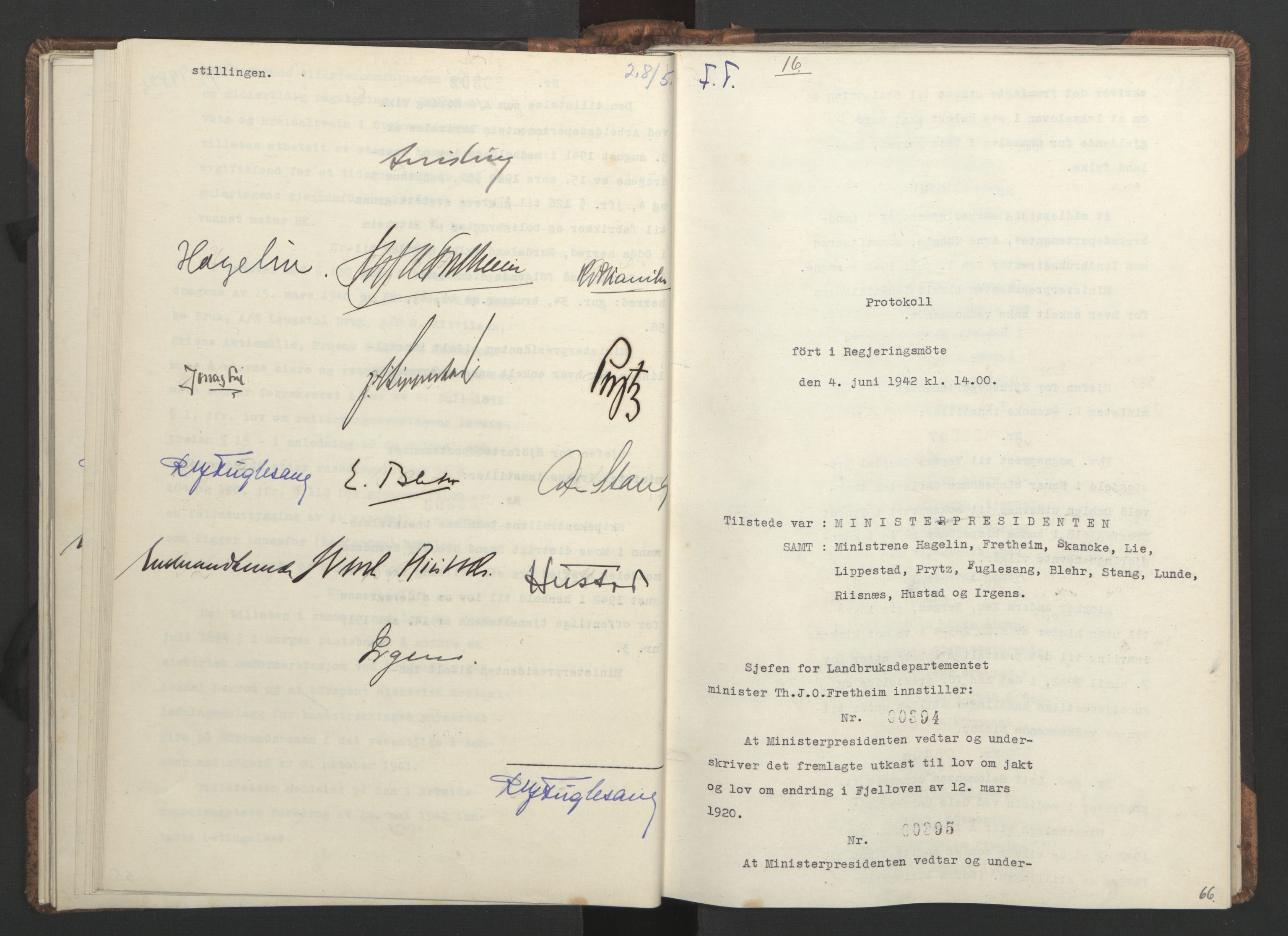 RA, NS-administrasjonen 1940-1945 (Statsrådsekretariatet, de kommisariske statsråder mm), D/Da/L0001: Beslutninger og tillegg (1-952 og 1-32), 1942, s. 65b-66a