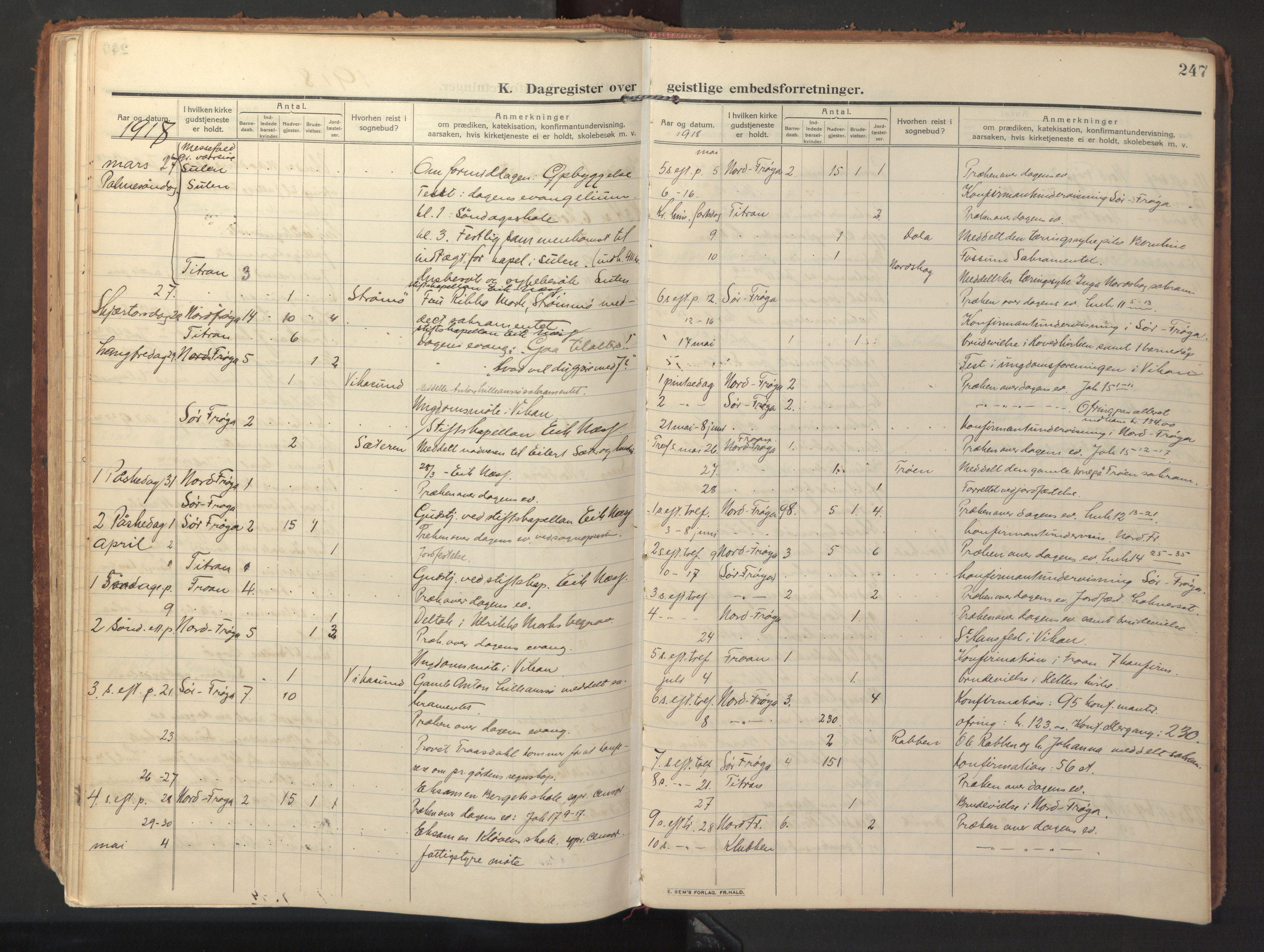 SAT, Ministerialprotokoller, klokkerbøker og fødselsregistre - Sør-Trøndelag, 640/L0581: Ministerialbok nr. 640A06, 1910-1924, s. 247