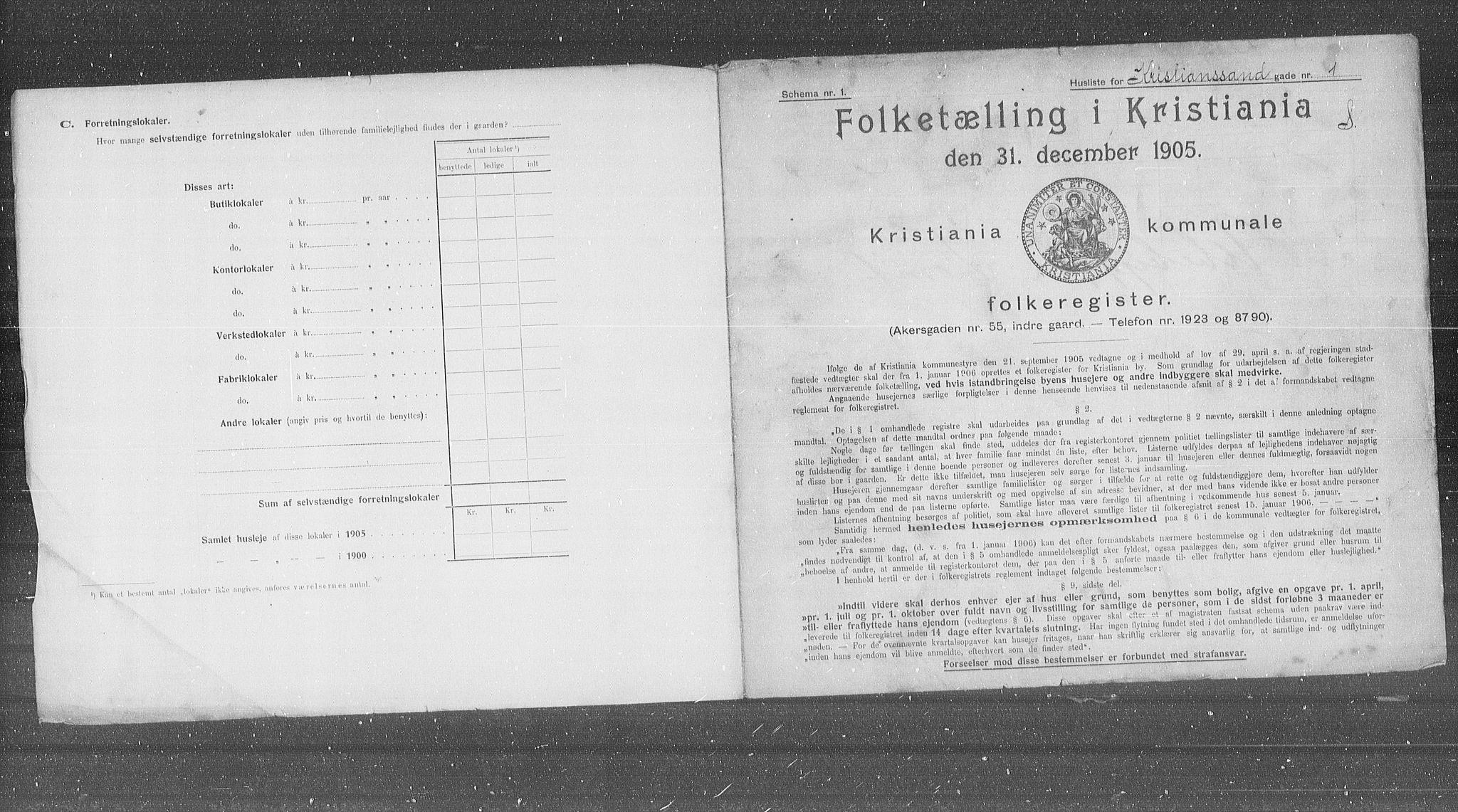 OBA, Kommunal folketelling 1905 for Kristiania kjøpstad, 1905, s. 28636