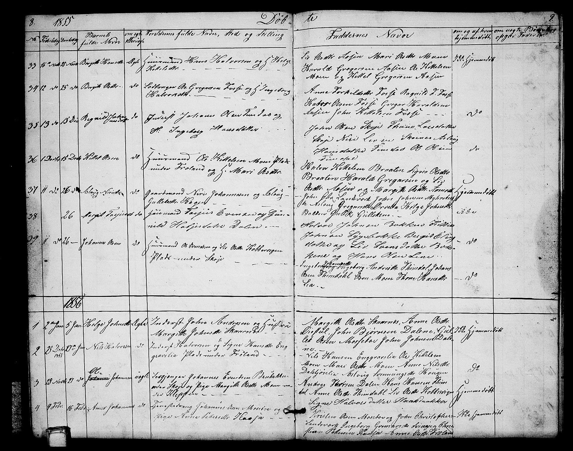 SAKO, Hjartdal kirkebøker, G/Gb/L0002: Klokkerbok nr. II 2, 1854-1884, s. 8-9