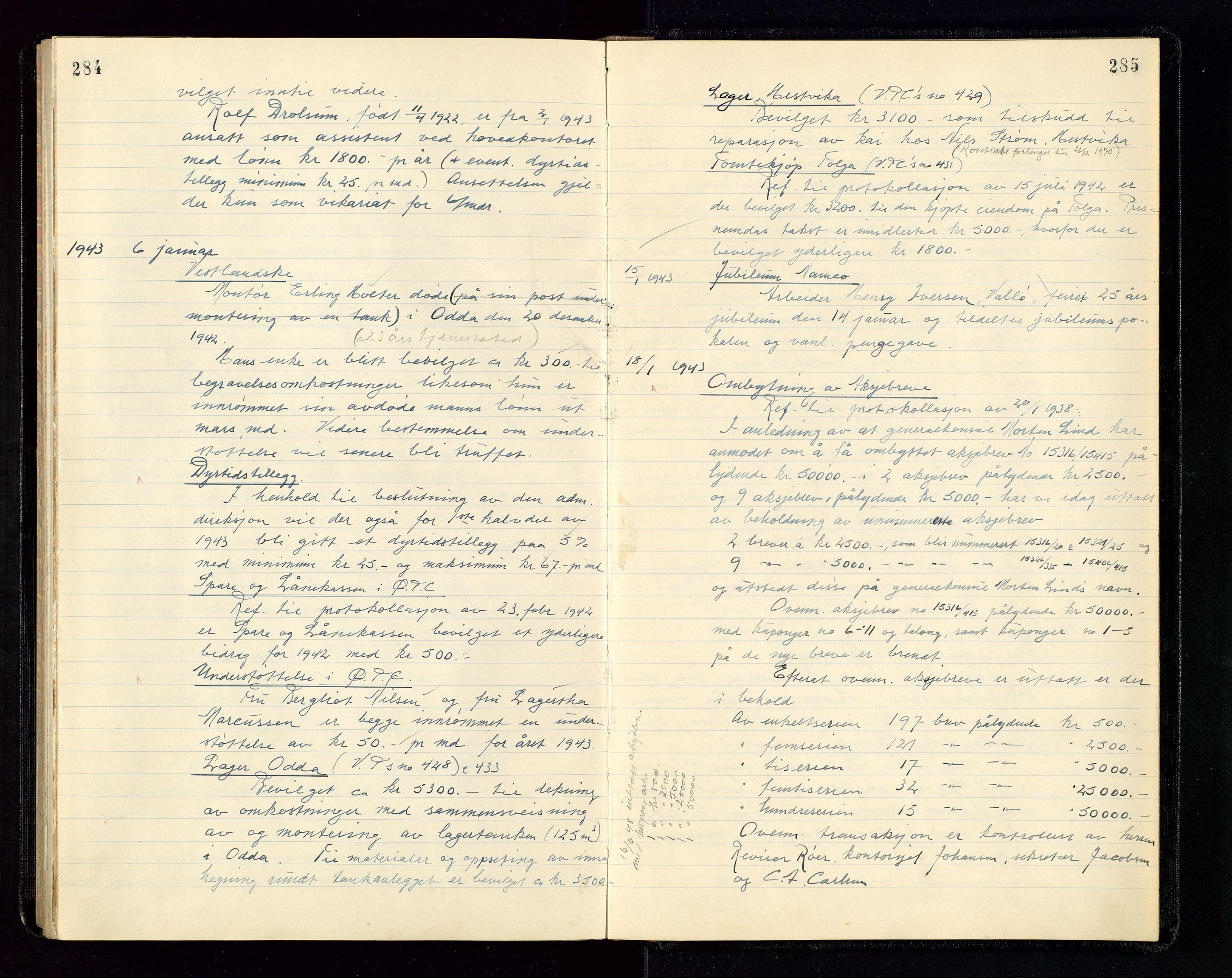SAST, PA 1534 - Østlandske Petroleumscompagni A/S, A/Aa/L0004: Direksjonsprotokoller, 1936-1943, s. 284-285