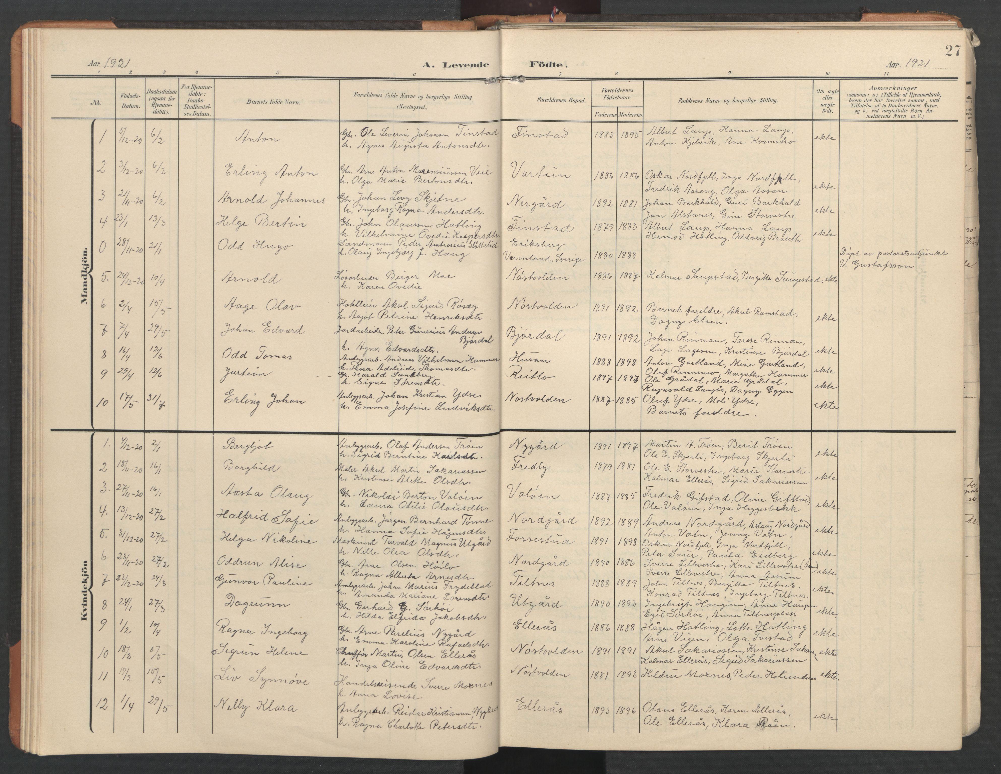 SAT, Ministerialprotokoller, klokkerbøker og fødselsregistre - Nord-Trøndelag, 746/L0455: Klokkerbok nr. 746C01, 1908-1933, s. 27