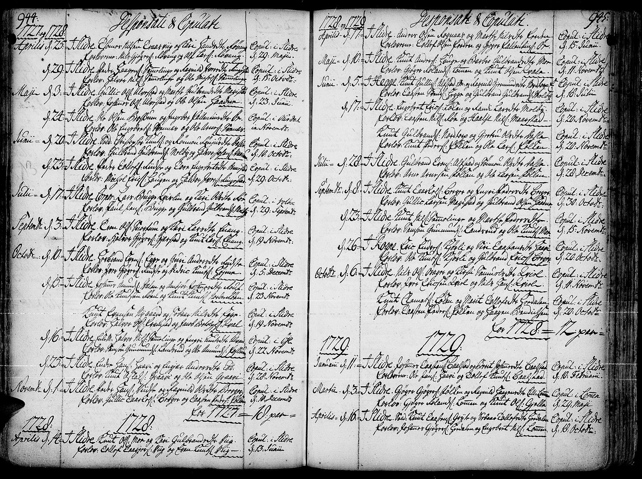 SAH, Slidre prestekontor, Ministerialbok nr. 1, 1724-1814, s. 944-945