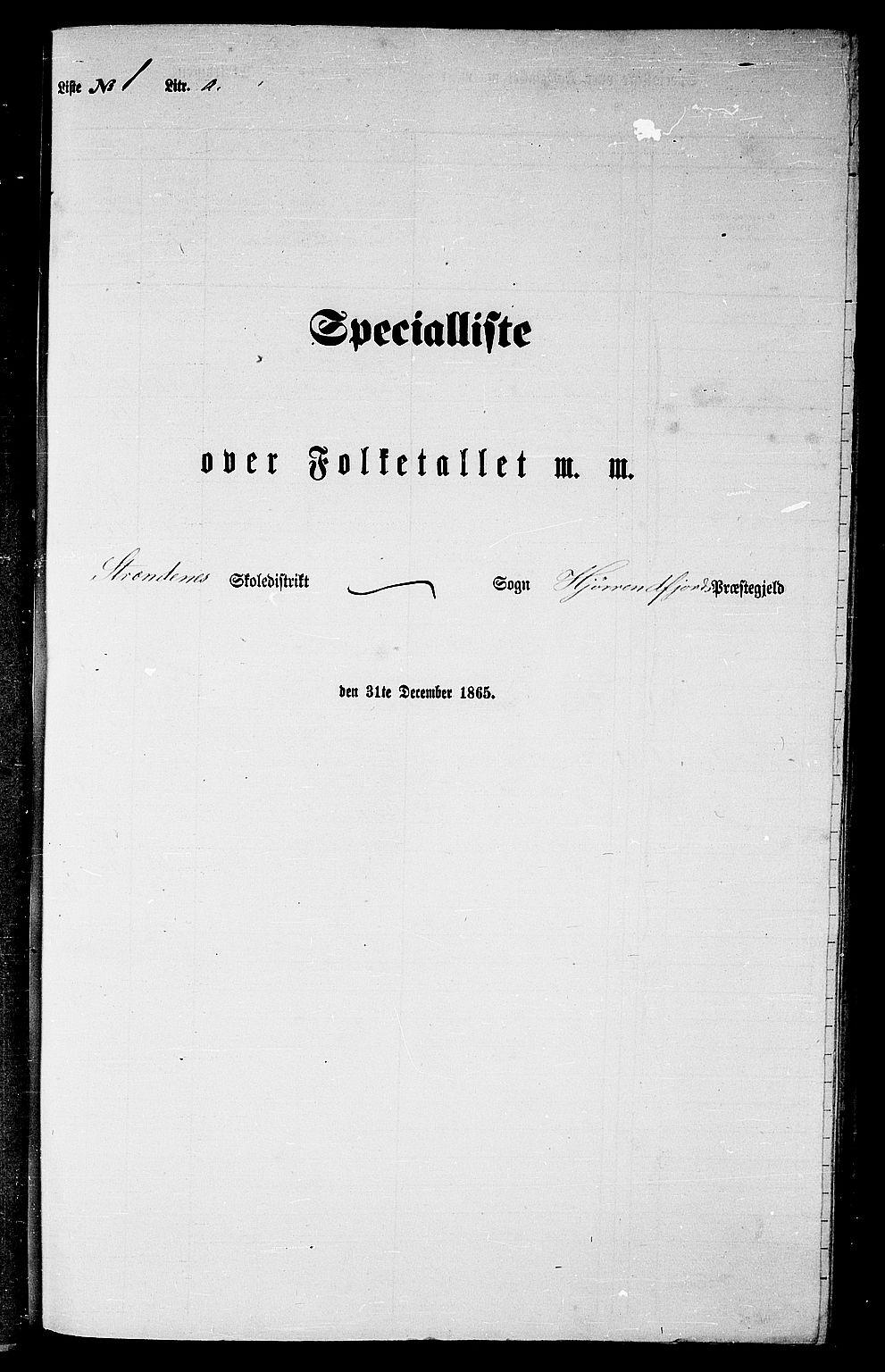 RA, Folketelling 1865 for 1522P Hjørundfjord prestegjeld, 1865, s. 9