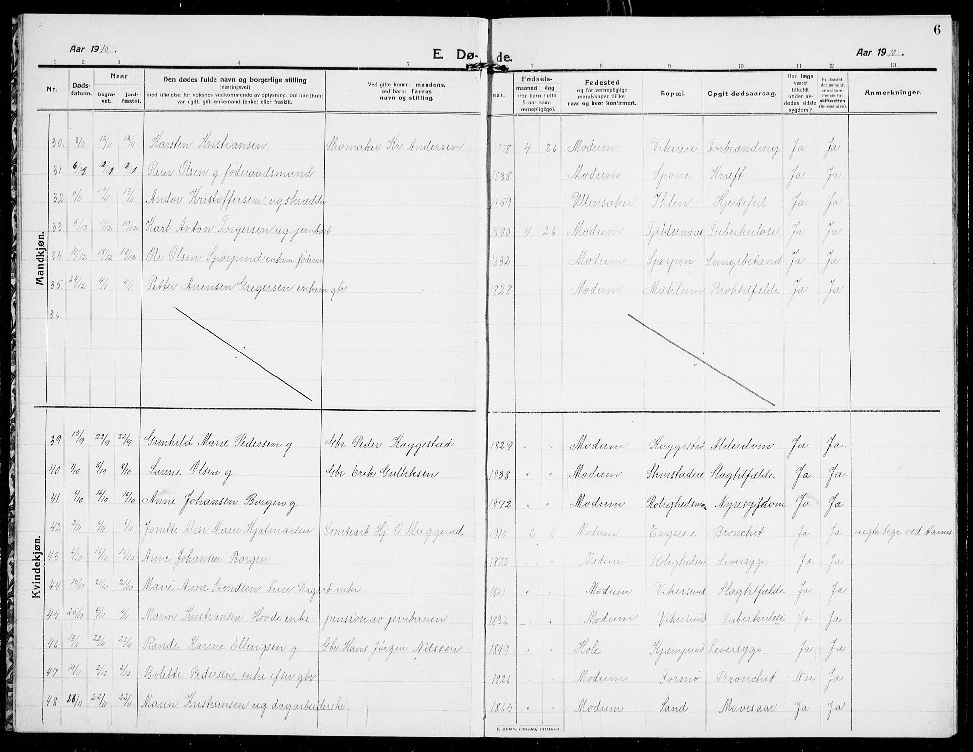 SAKO, Modum kirkebøker, G/Ga/L0011: Klokkerbok nr. I 11, 1910-1925, s. 6