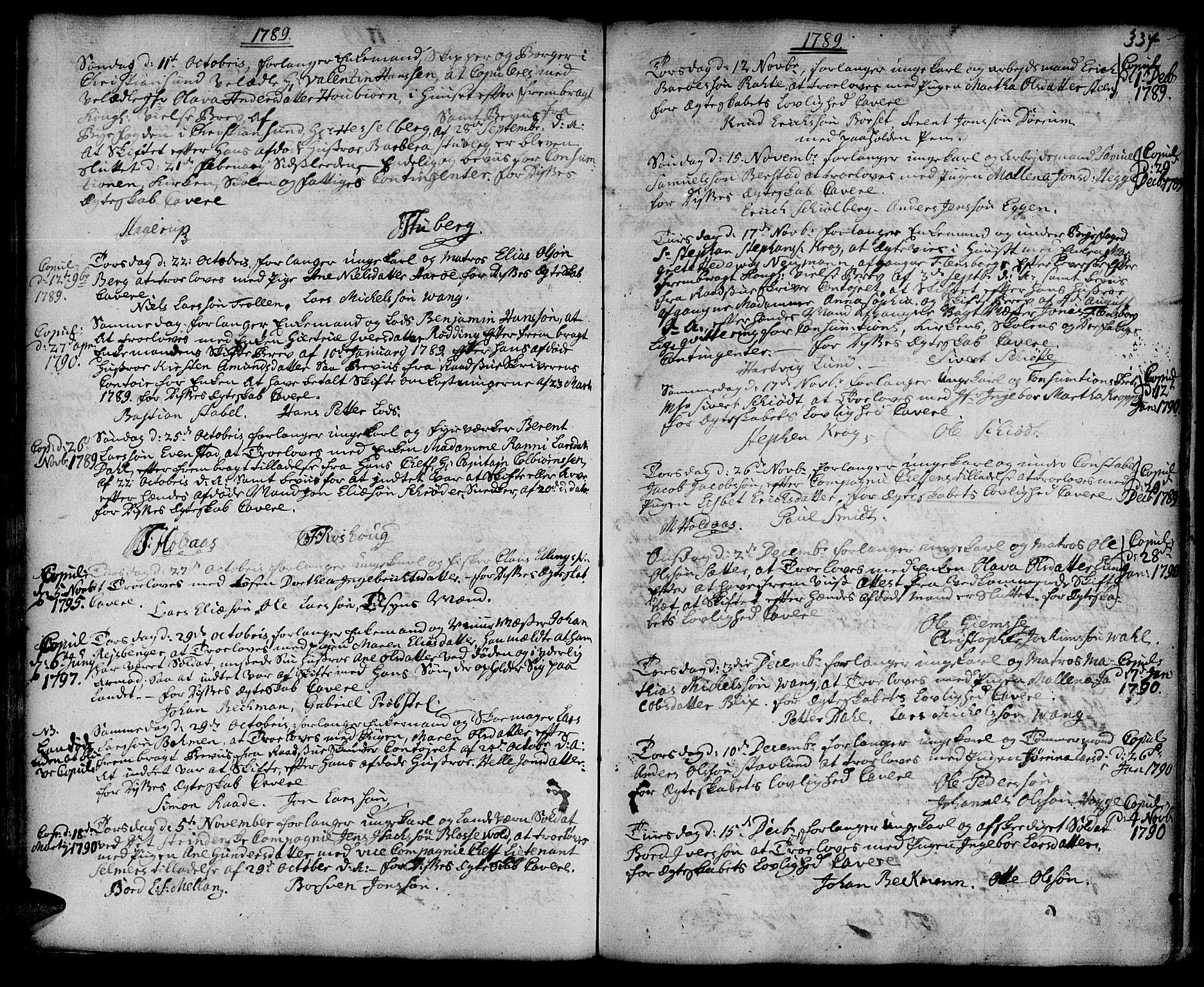 SAT, Ministerialprotokoller, klokkerbøker og fødselsregistre - Sør-Trøndelag, 601/L0038: Ministerialbok nr. 601A06, 1766-1877, s. 334