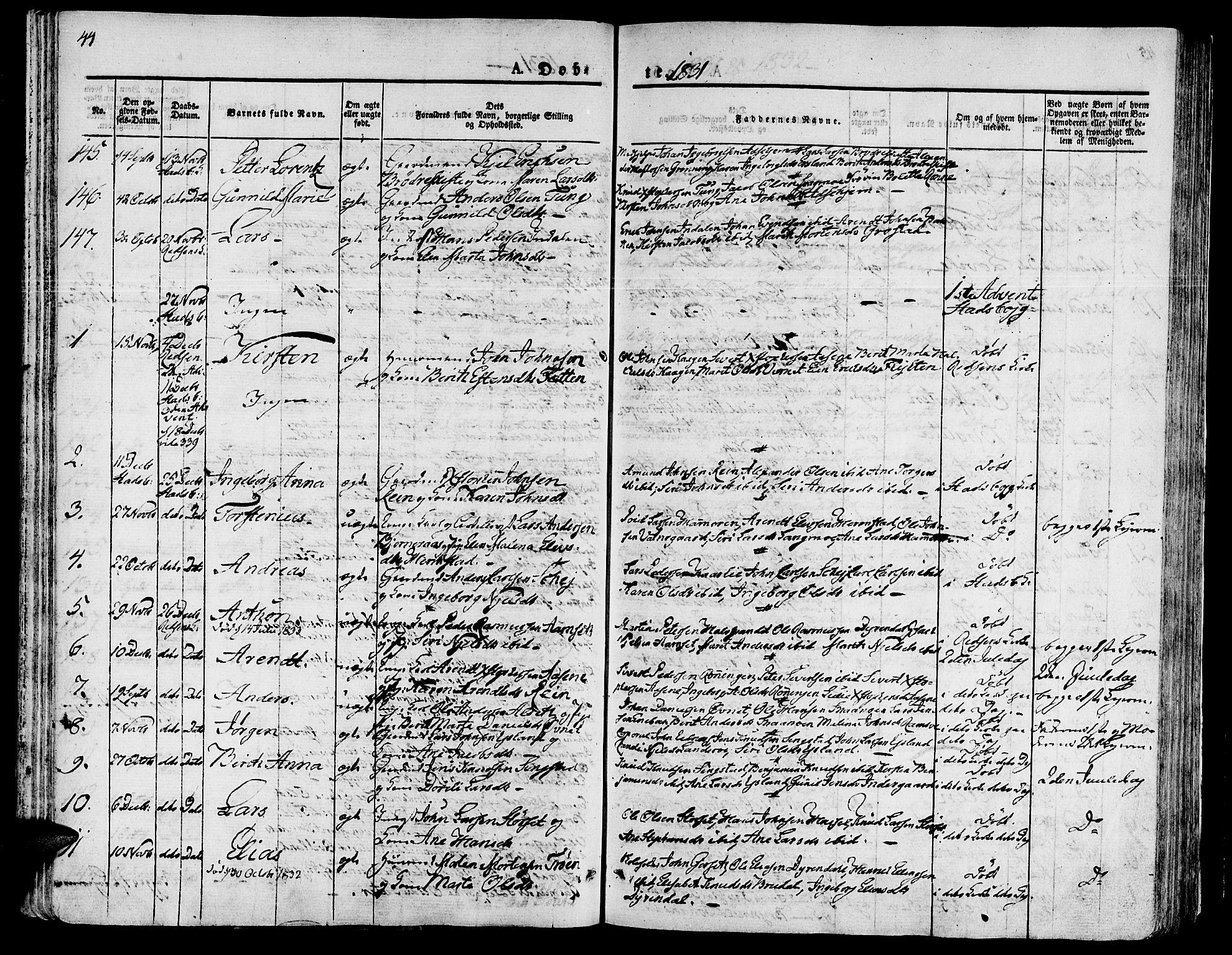 SAT, Ministerialprotokoller, klokkerbøker og fødselsregistre - Sør-Trøndelag, 646/L0609: Ministerialbok nr. 646A07, 1826-1838, s. 44