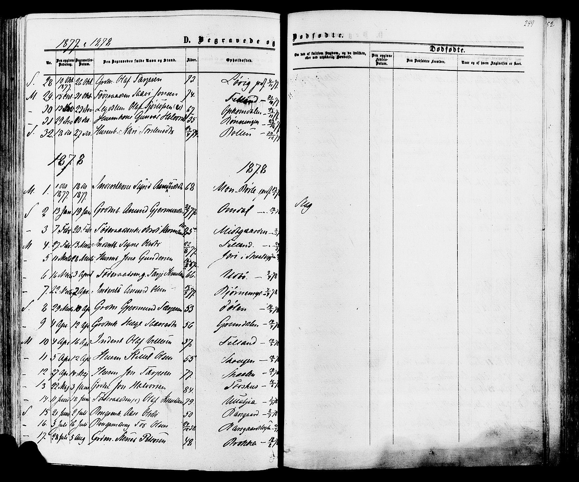 SAKO, Mo kirkebøker, F/Fa/L0006: Ministerialbok nr. I 6, 1865-1885, s. 249