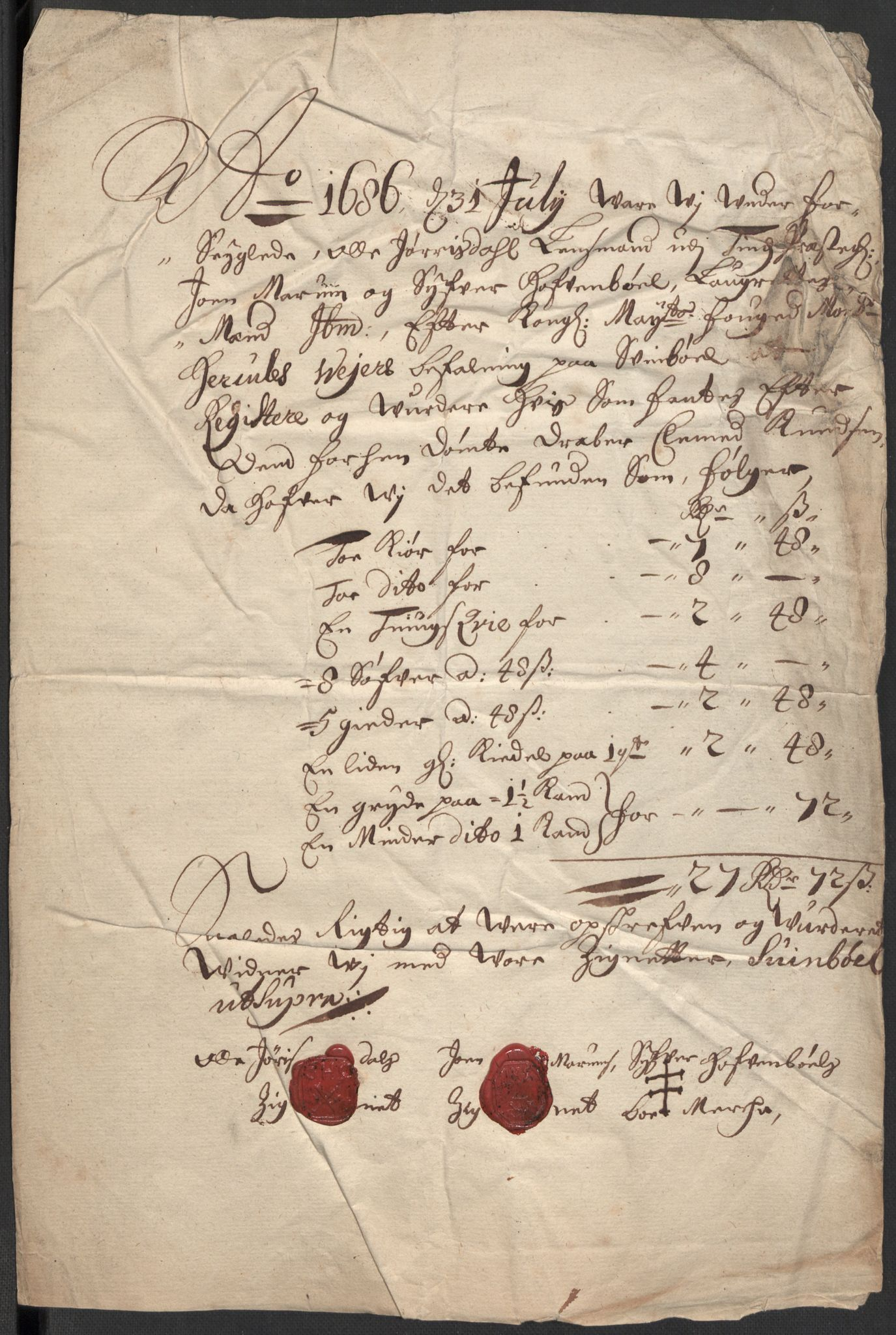 RA, Rentekammeret inntil 1814, Reviderte regnskaper, Fogderegnskap, R35/L2083: Fogderegnskap Øvre og Nedre Telemark, 1686, s. 404