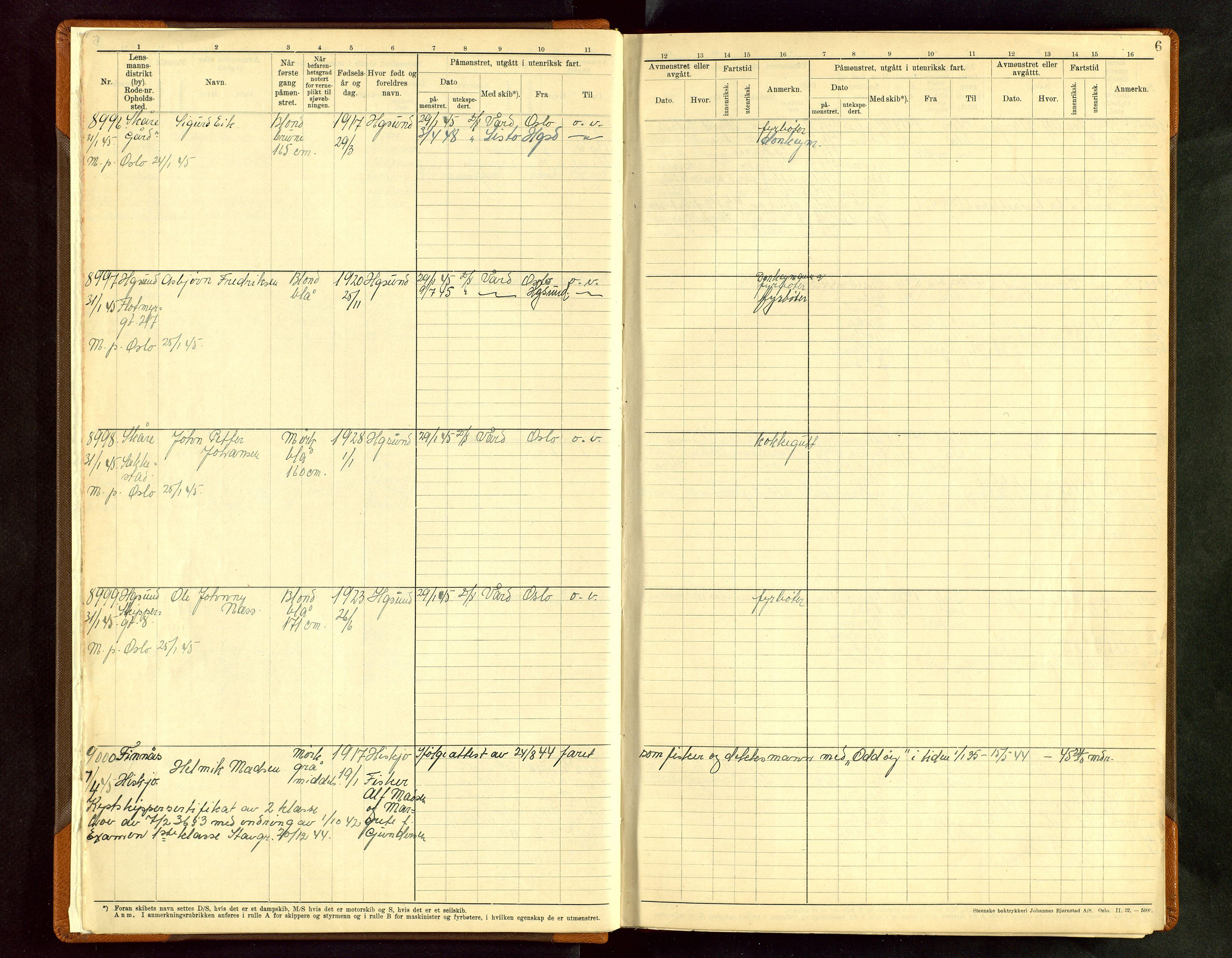 SAST, Haugesund sjømannskontor, F/Fb/Fbb/L0012: Sjøfartsrulle A Haugesund krets 2 nr. 8971-9629, 1868-1948, s. 6