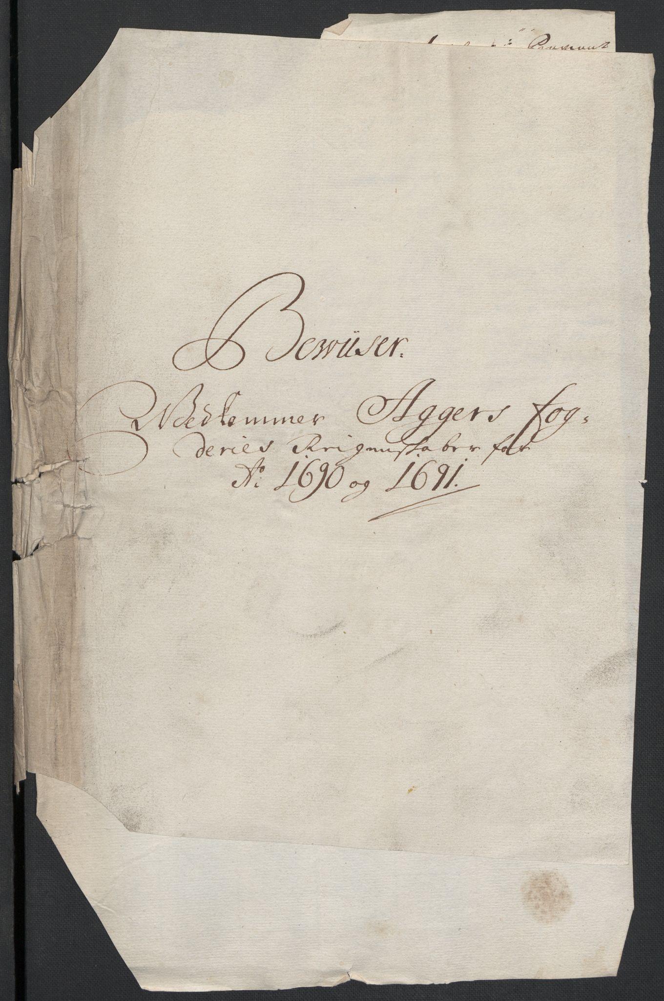 RA, Rentekammeret inntil 1814, Reviderte regnskaper, Fogderegnskap, R08/L0425: Fogderegnskap Aker, 1690-1691, s. 2