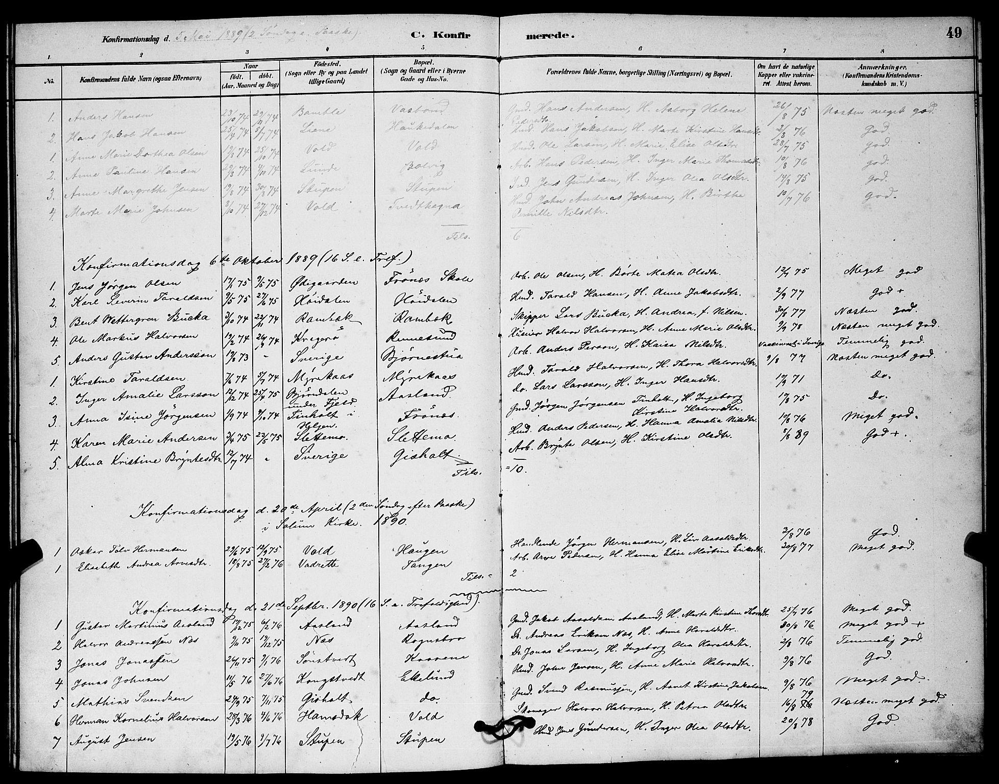 SAKO, Solum kirkebøker, G/Gc/L0001: Klokkerbok nr. III 1, 1880-1902, s. 49