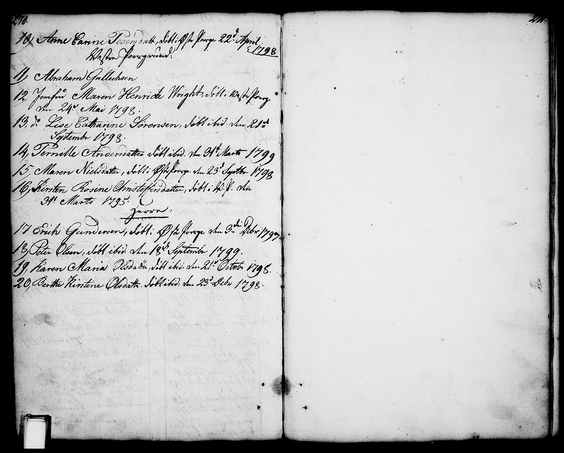 SAKO, Porsgrunn kirkebøker , F/Fa/L0001: Ministerialbok nr. 1, 1764-1814, s. 270-271