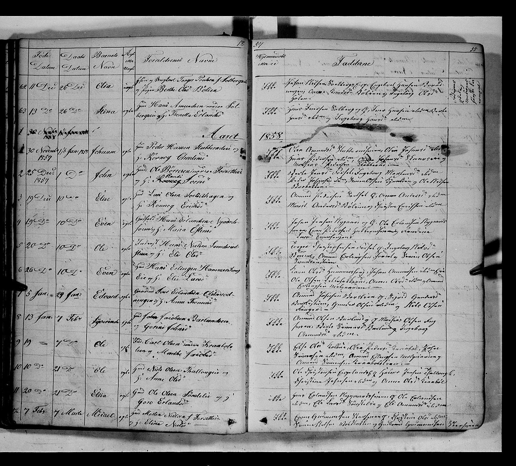 SAH, Gausdal prestekontor, Klokkerbok nr. 5, 1846-1867, s. 55