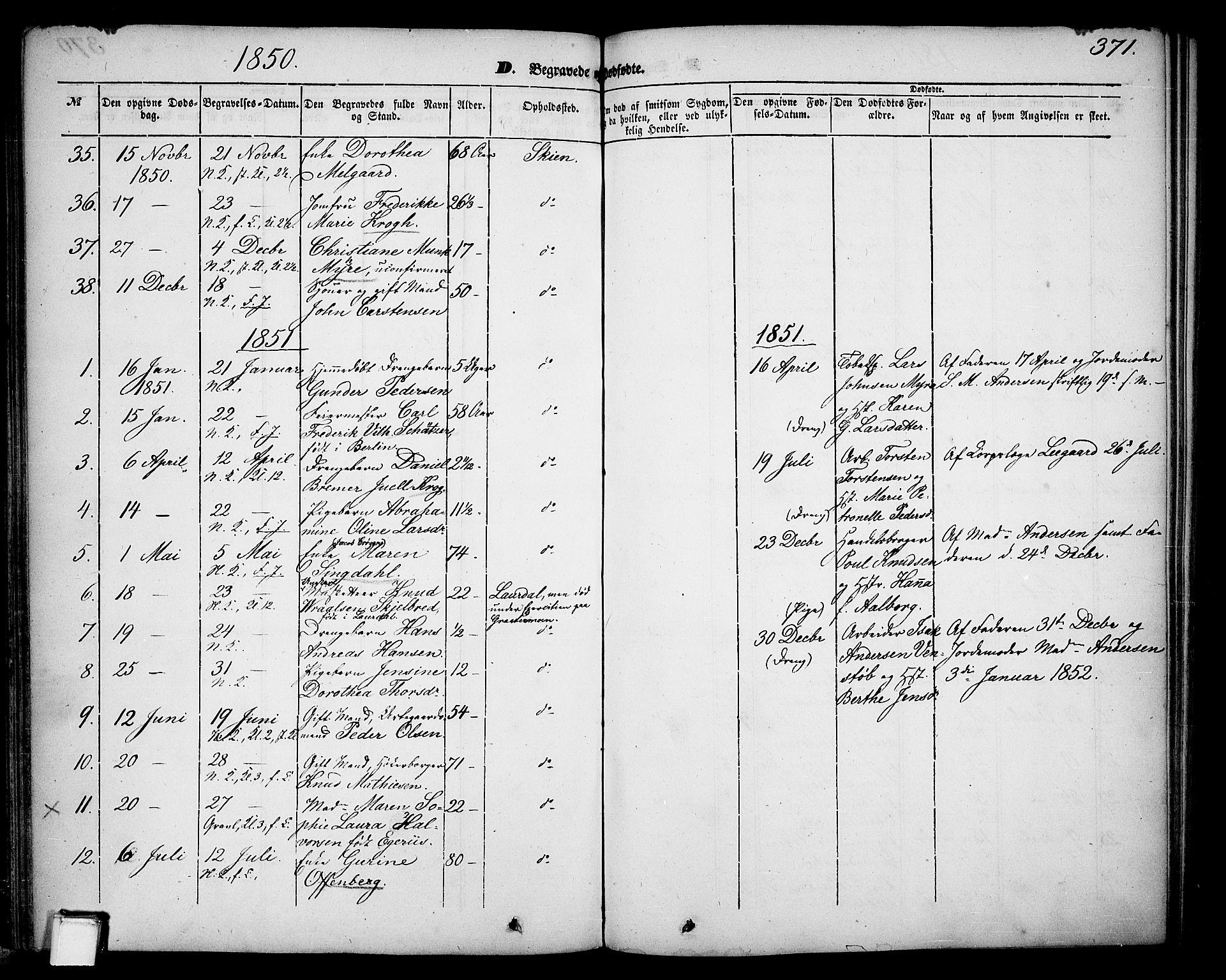 SAKO, Skien kirkebøker, G/Ga/L0004: Klokkerbok nr. 4, 1843-1867, s. 371